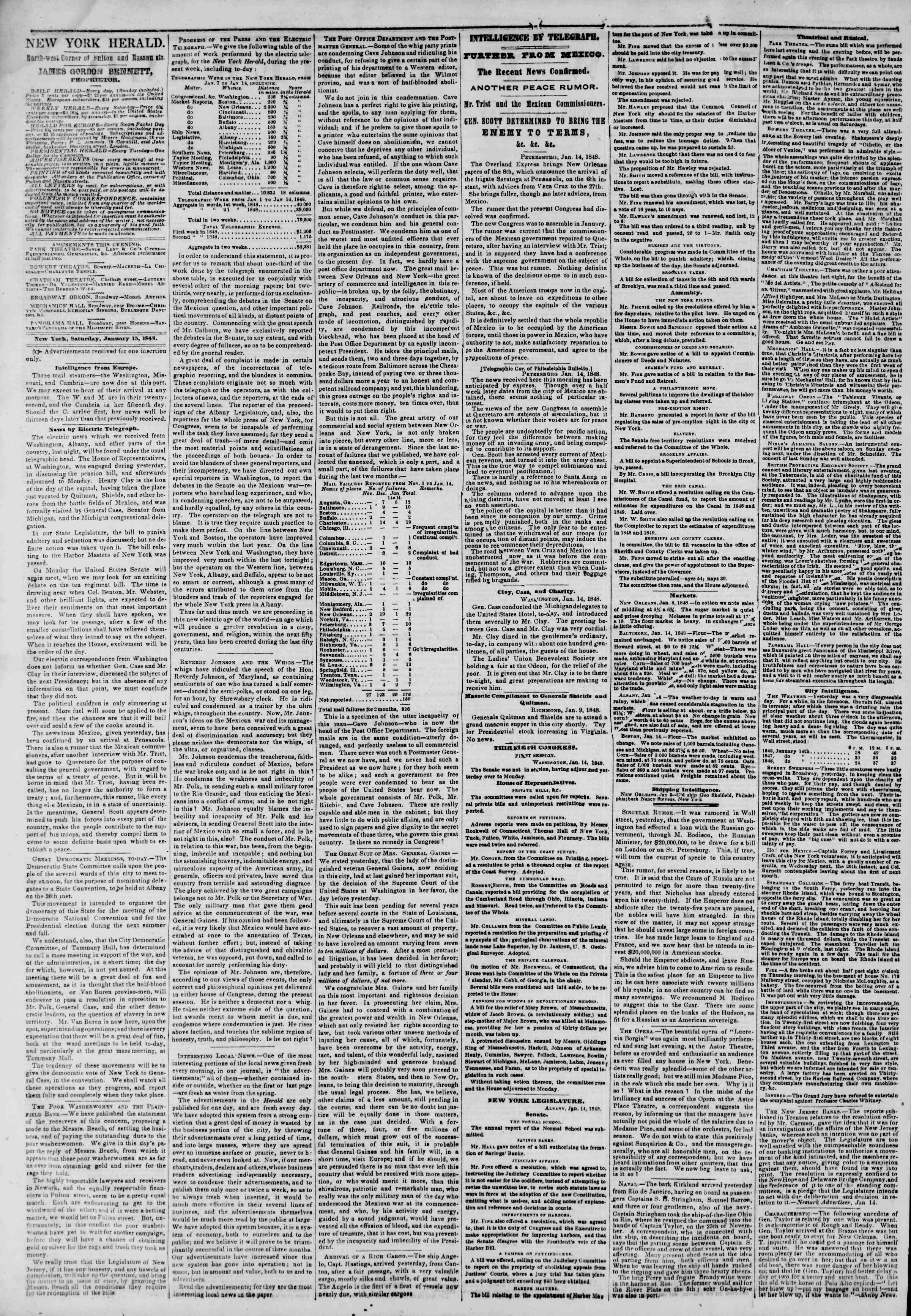 Newspaper of The New York Herald dated January 15, 1848 Page 2