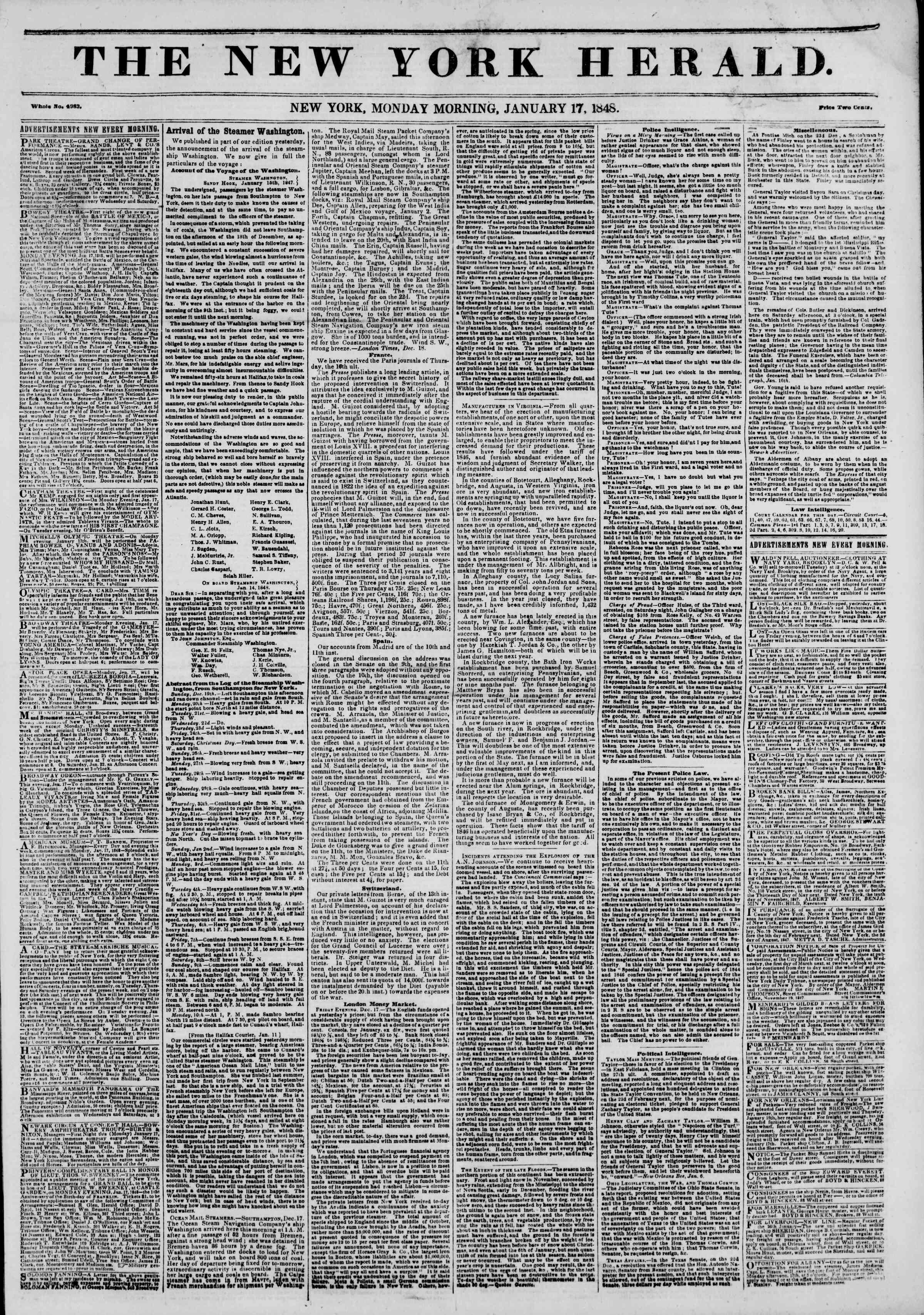 Newspaper of The New York Herald dated January 17, 1848 Page 1