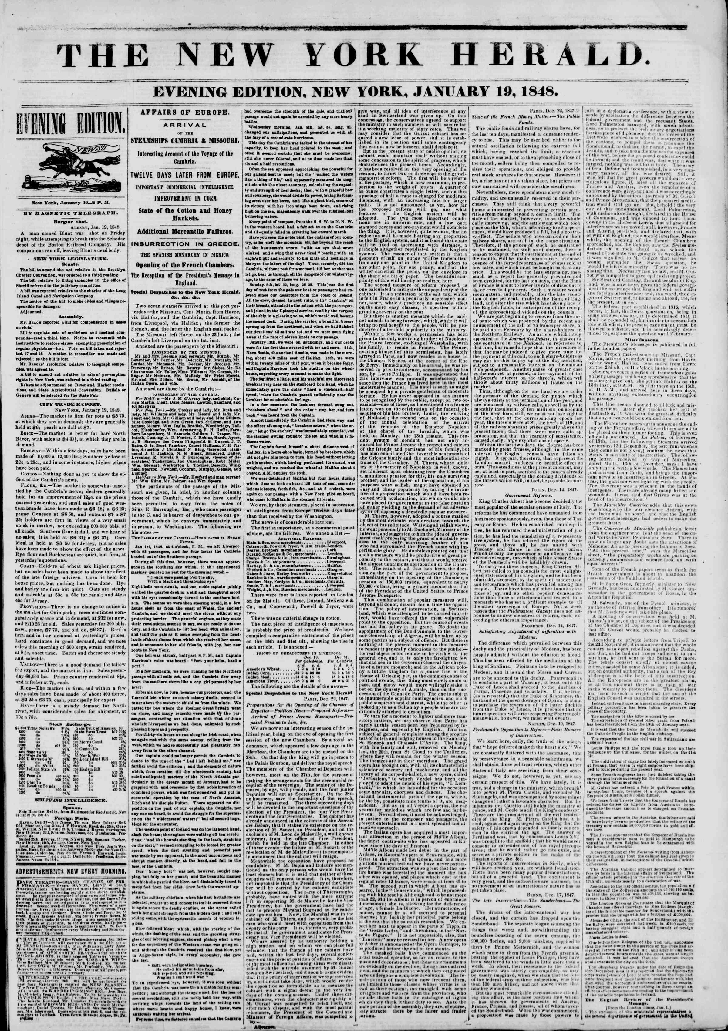 Newspaper of The New York Herald dated January 19, 1848 Page 1