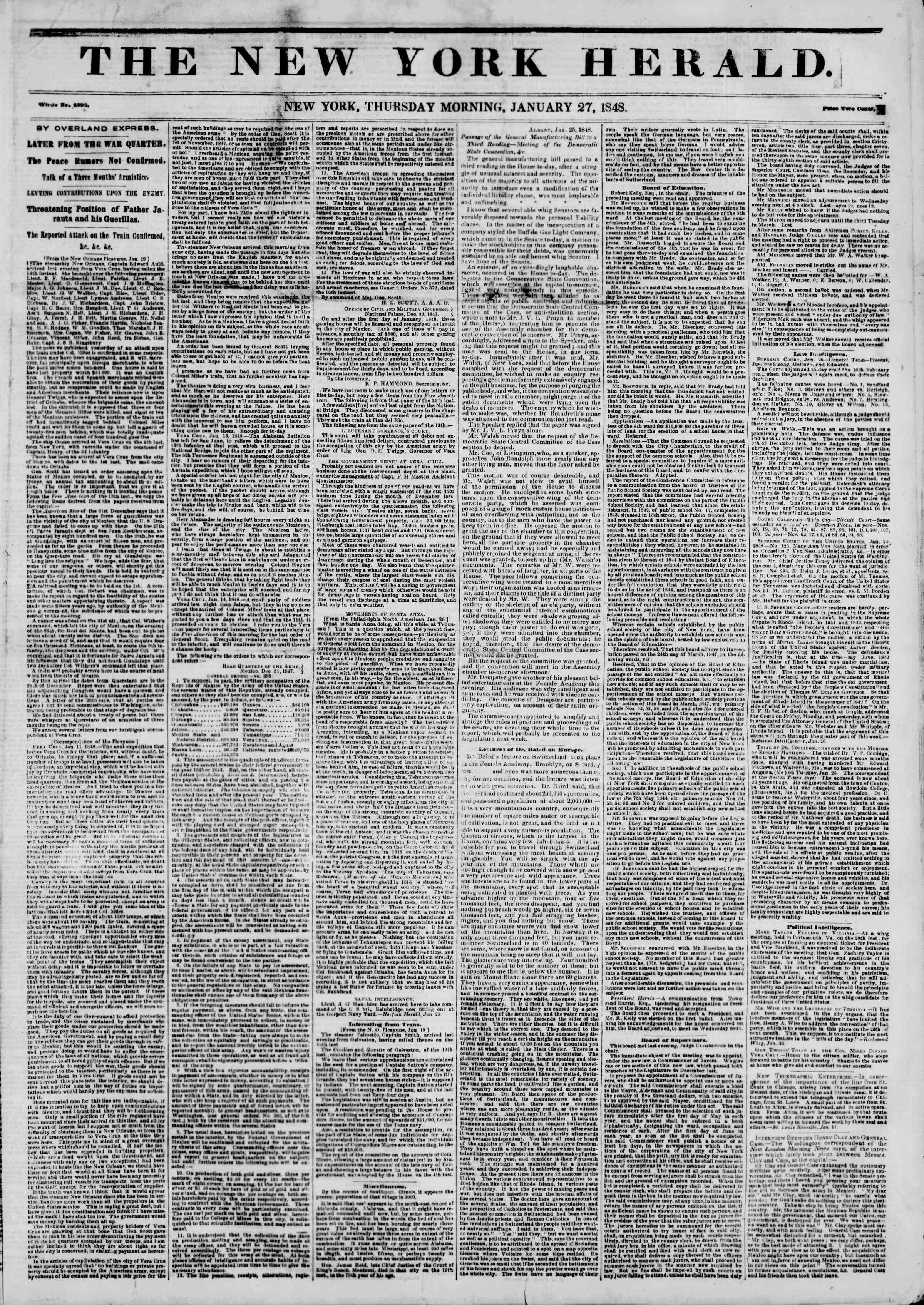 Newspaper of The New York Herald dated January 27, 1848 Page 1