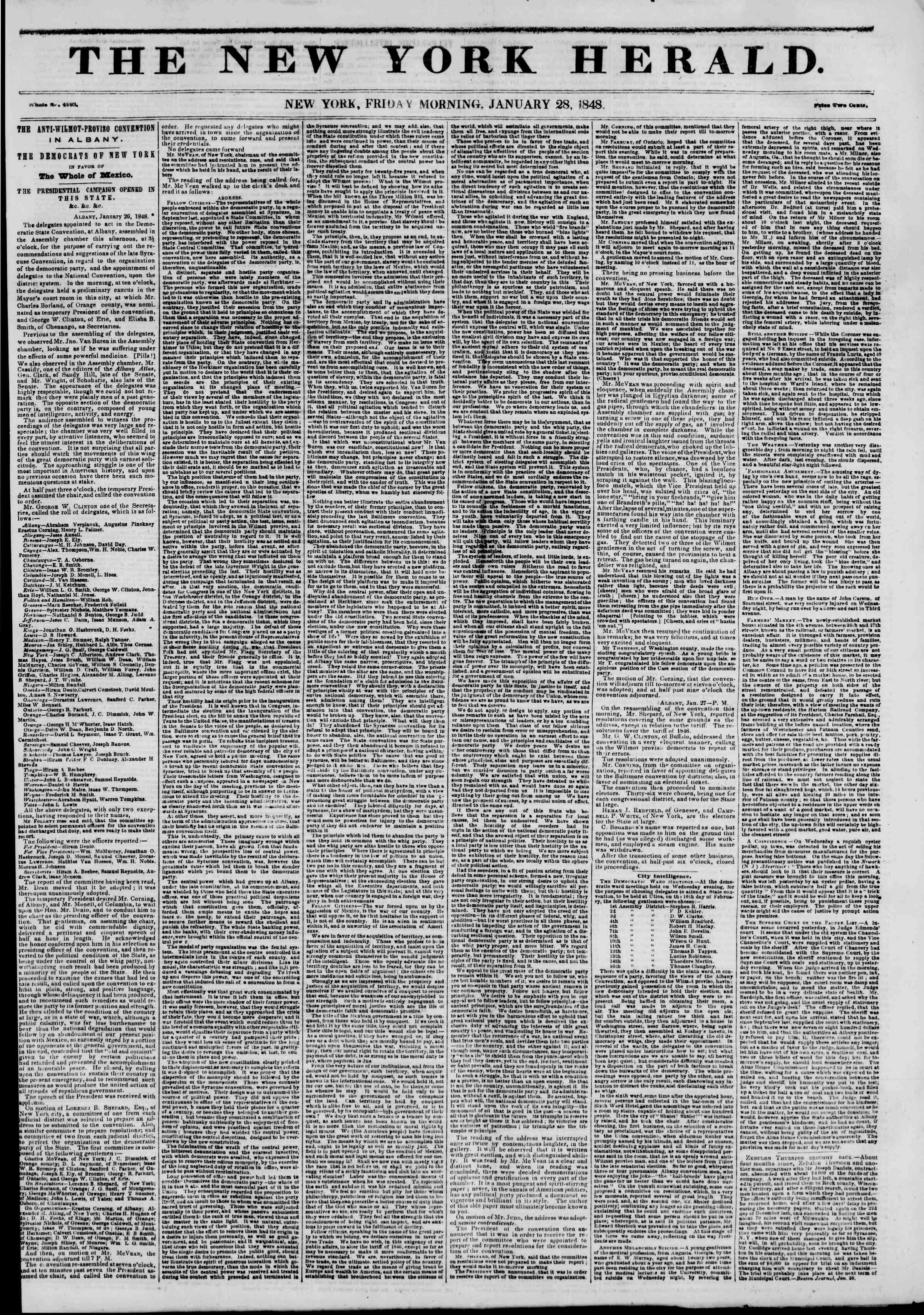 Newspaper of The New York Herald dated January 28, 1848 Page 1