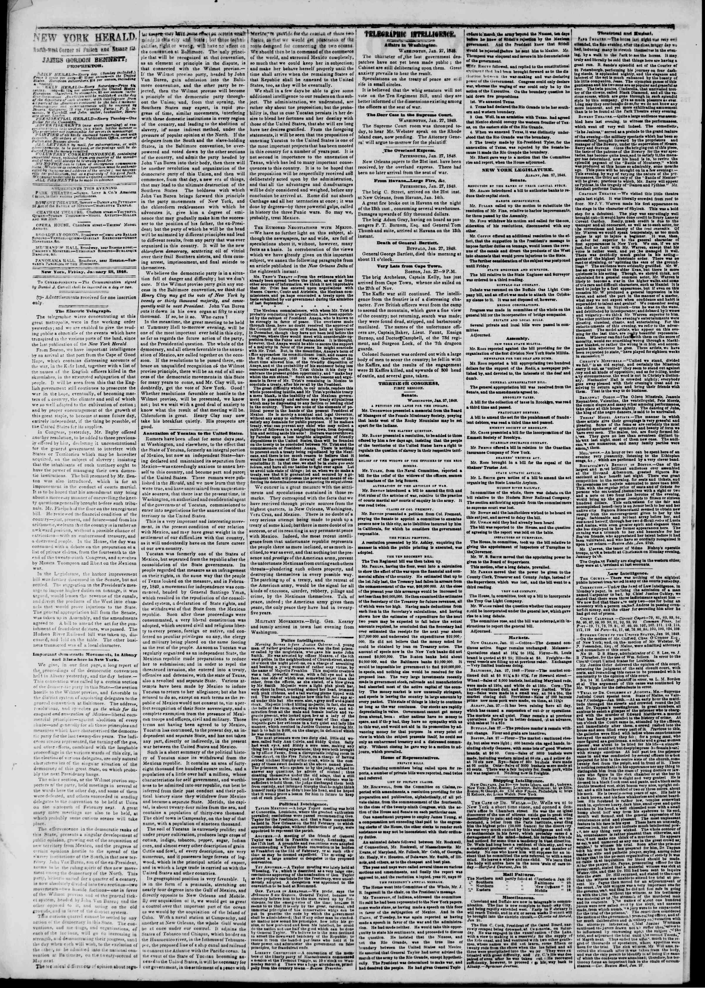 Newspaper of The New York Herald dated 28 Ocak 1848 Page 2