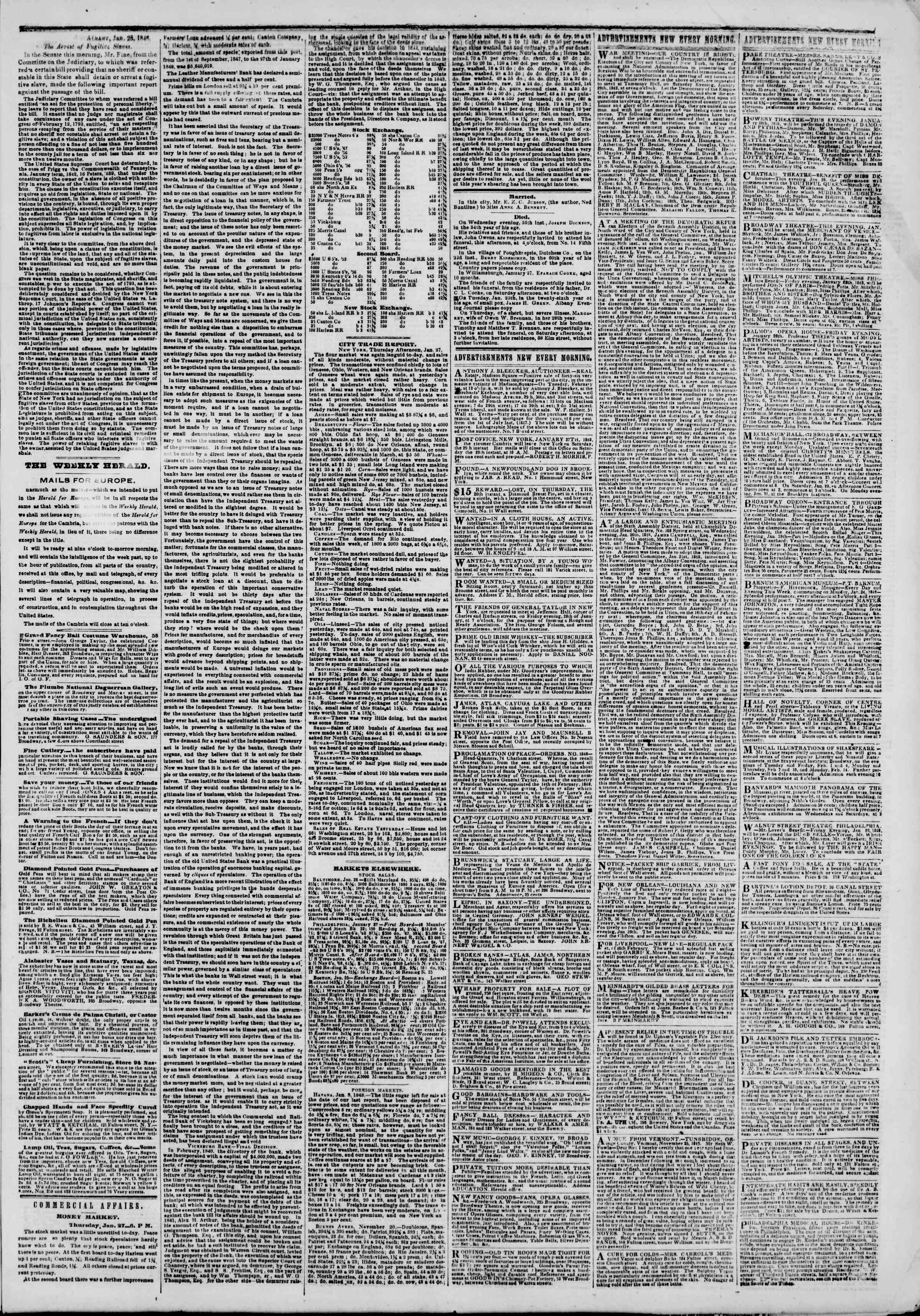Newspaper of The New York Herald dated January 28, 1848 Page 3