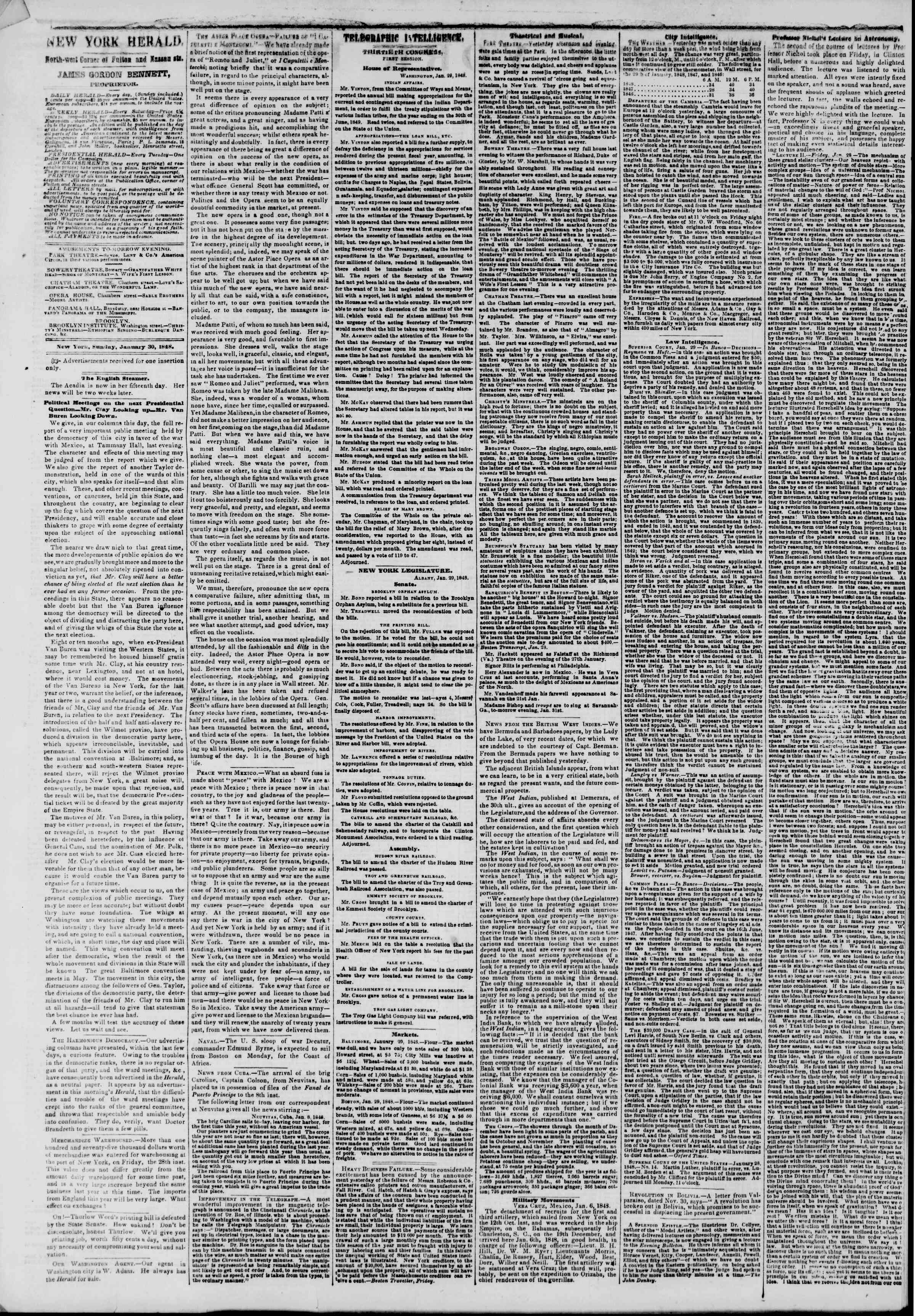 Newspaper of The New York Herald dated January 30, 1848 Page 2