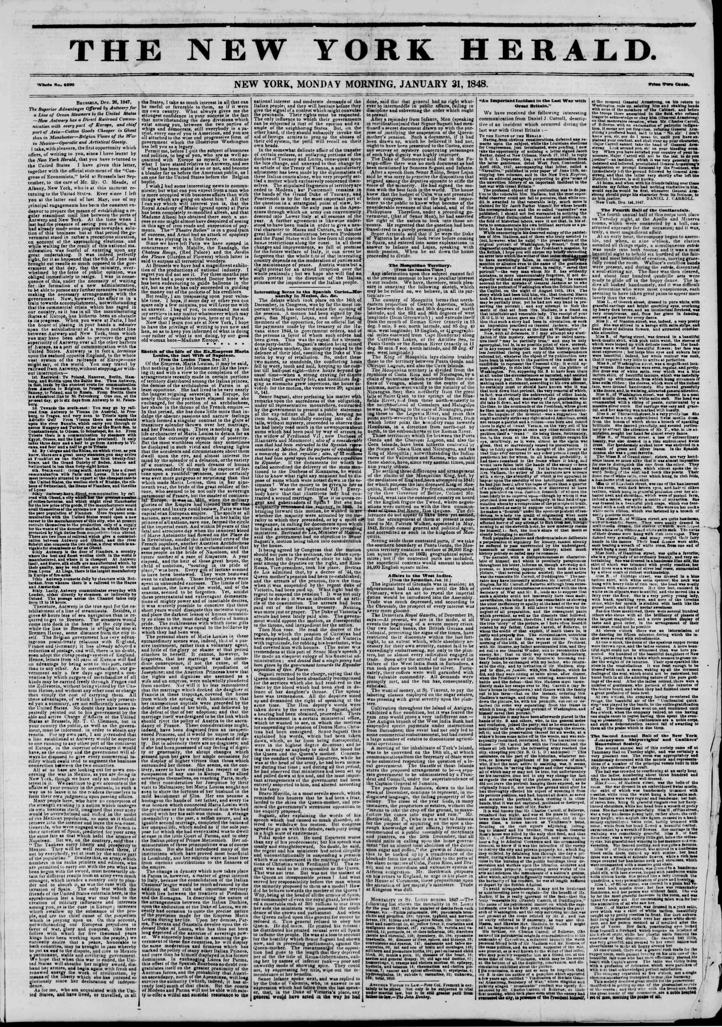 Newspaper of The New York Herald dated January 31, 1848 Page 1