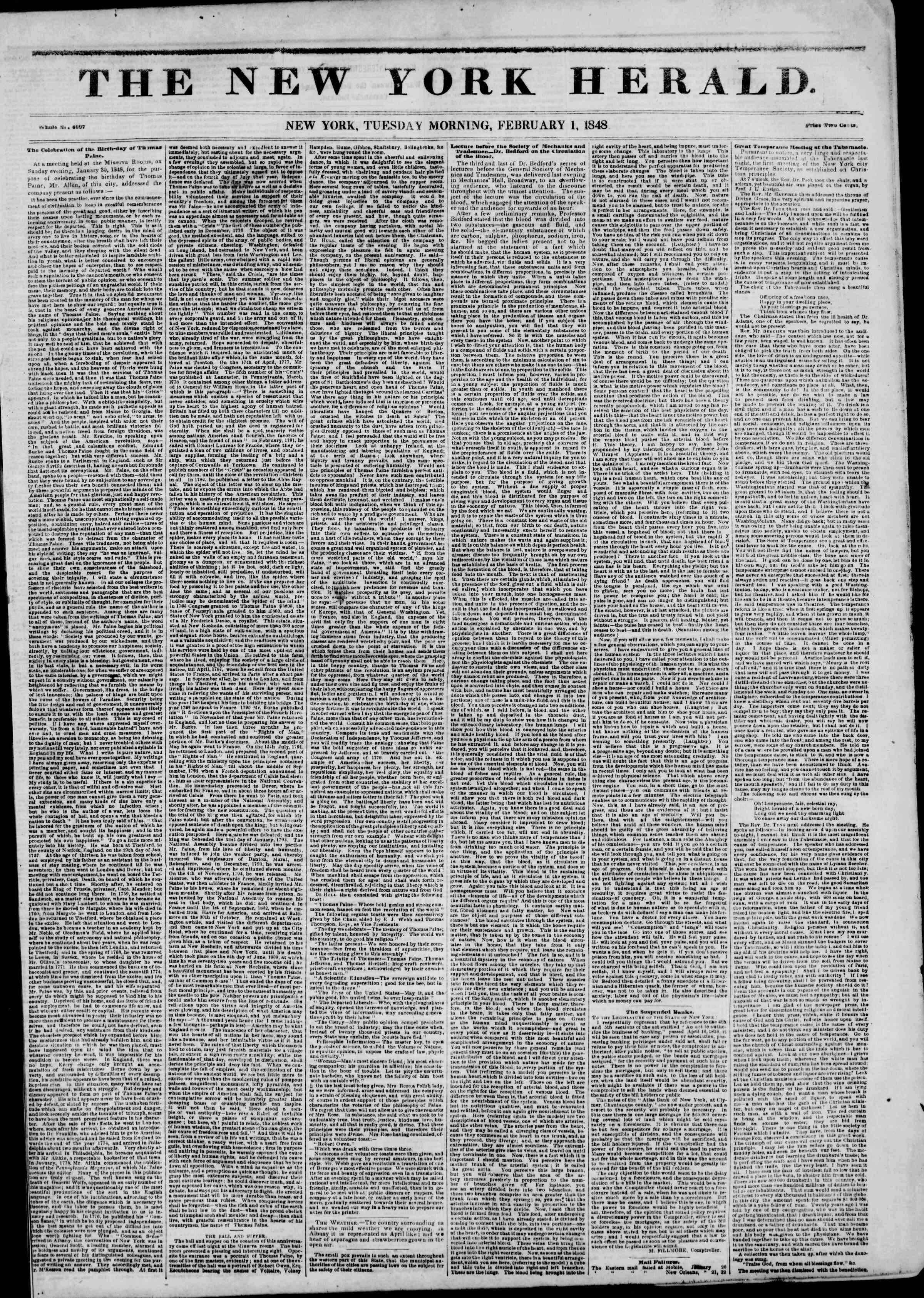 1 Şubat 1848 tarihli The New York Herald Gazetesi Sayfa 1