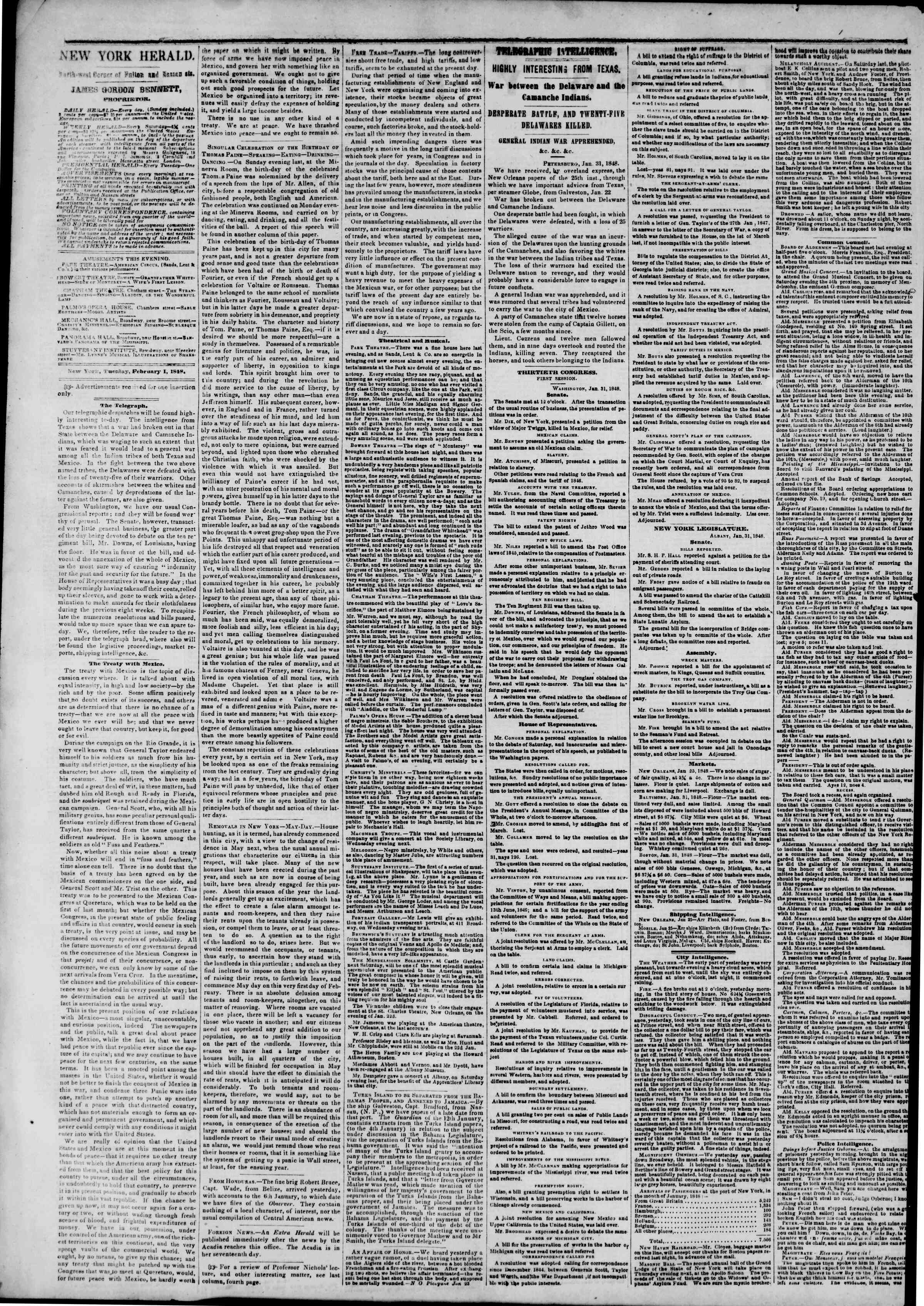Newspaper of The New York Herald dated February 1, 1848 Page 2