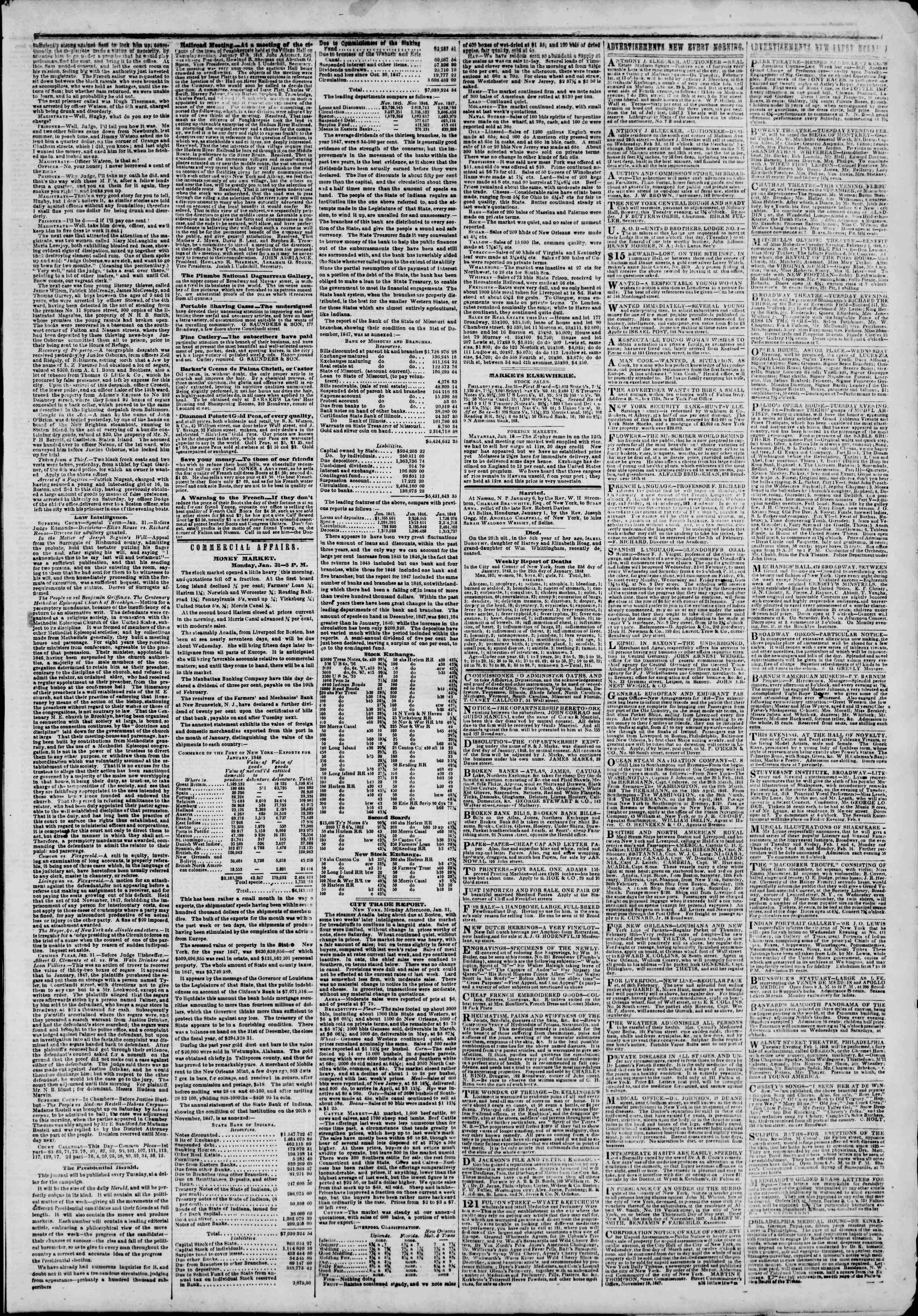 Newspaper of The New York Herald dated February 1, 1848 Page 3