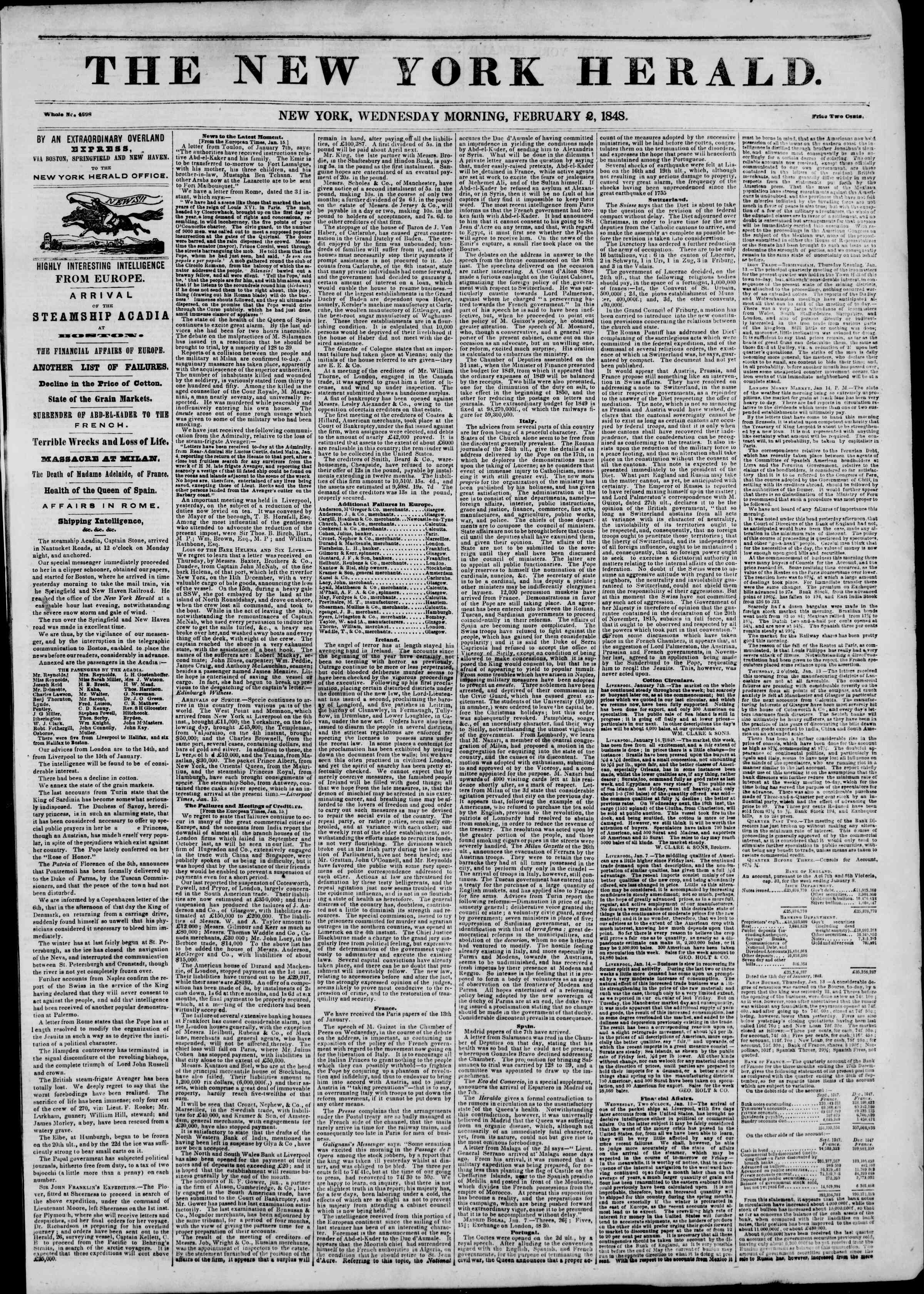 Newspaper of The New York Herald dated February 2, 1848 Page 1