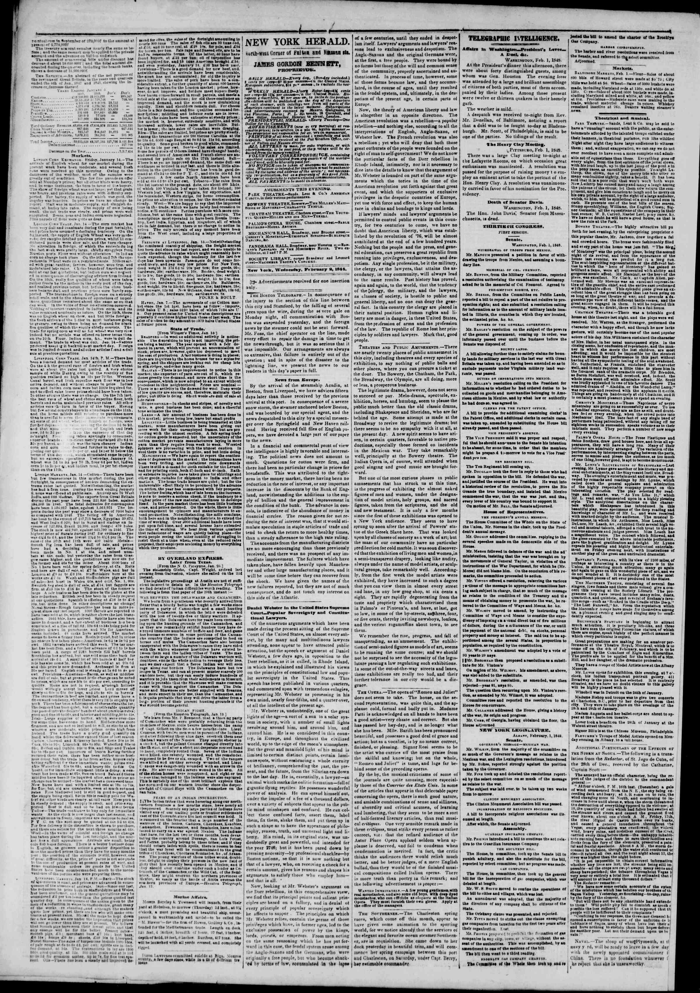 Newspaper of The New York Herald dated February 2, 1848 Page 2