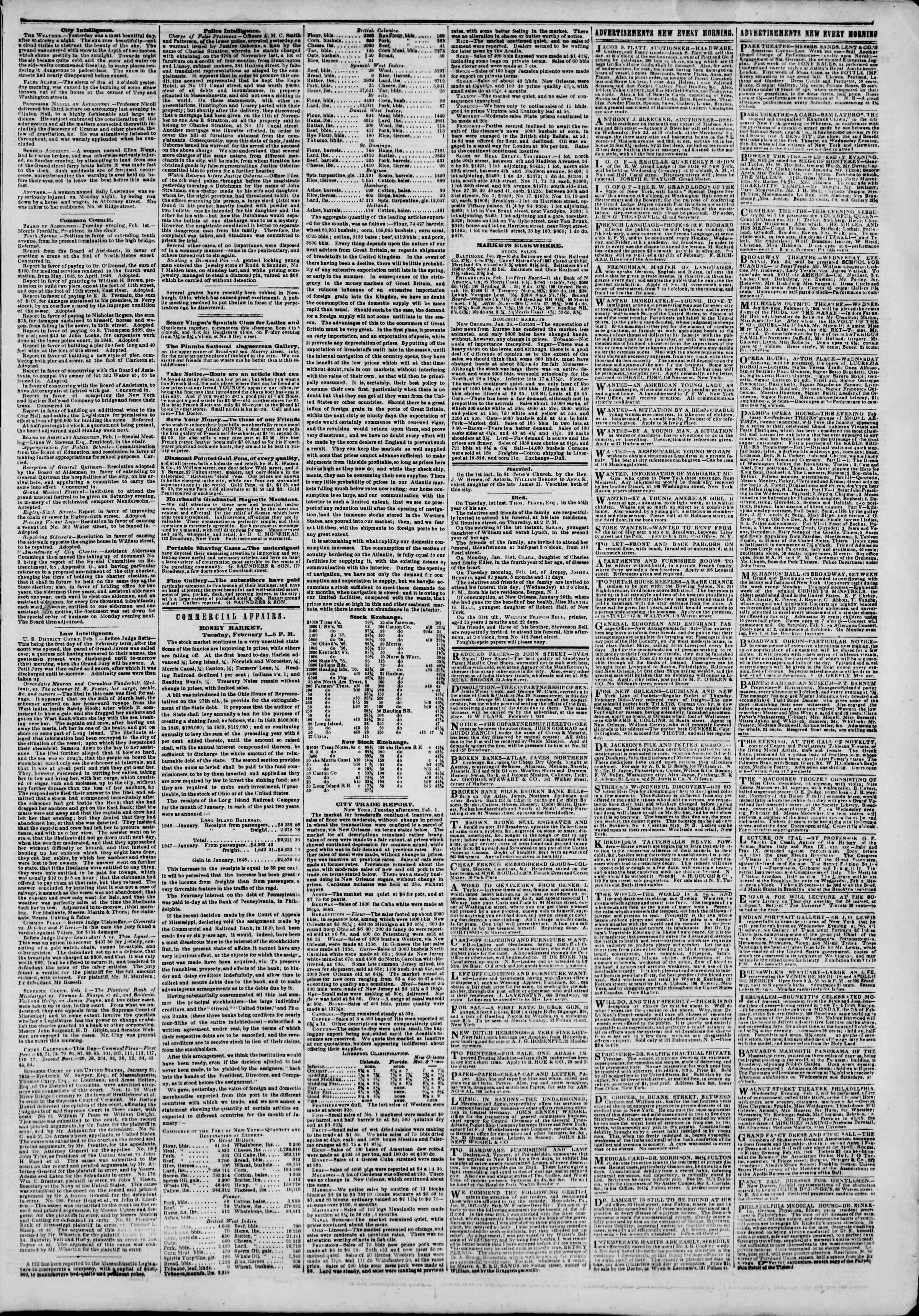 Newspaper of The New York Herald dated February 2, 1848 Page 3