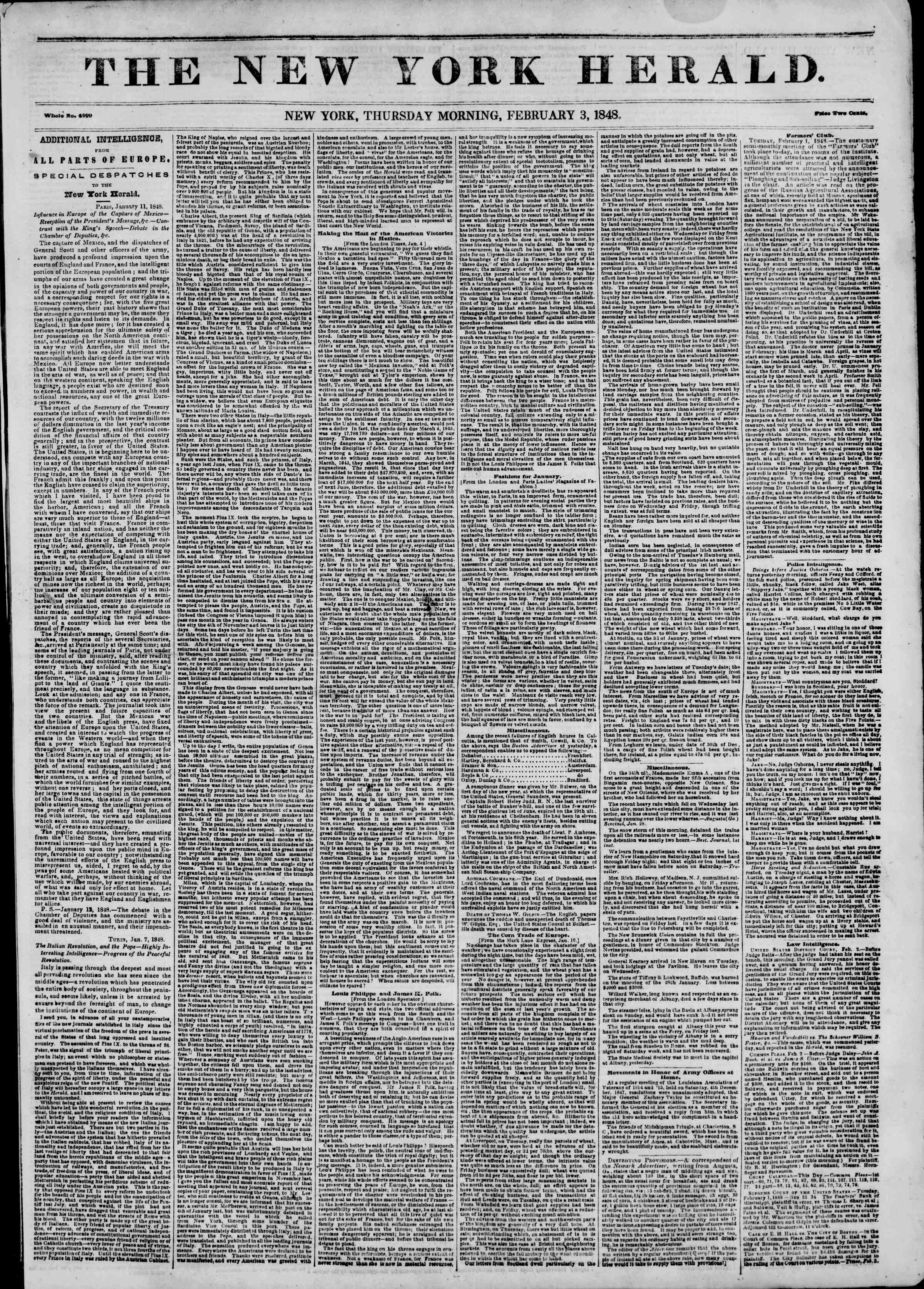 Newspaper of The New York Herald dated February 3, 1848 Page 1