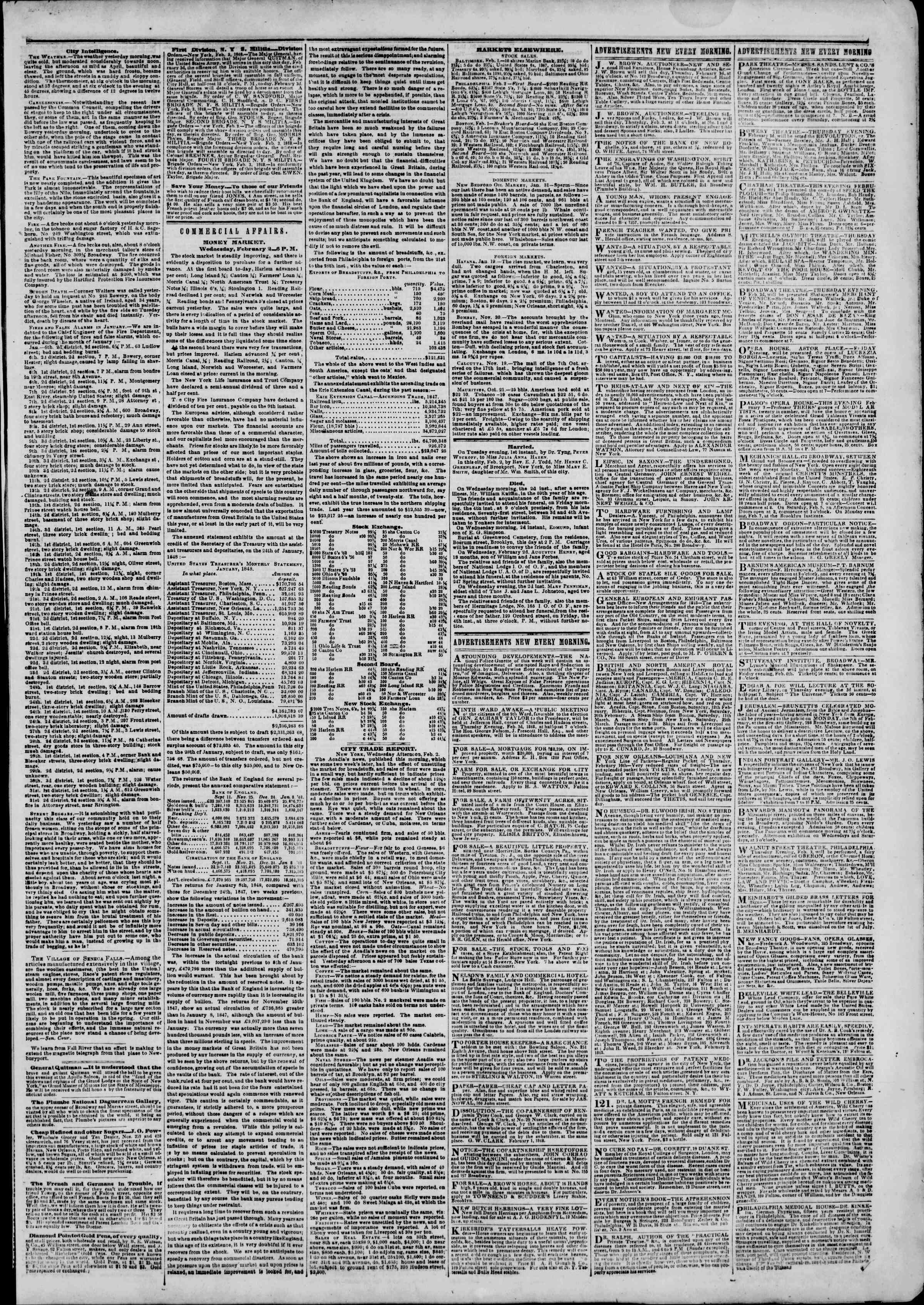 Newspaper of The New York Herald dated February 3, 1848 Page 3