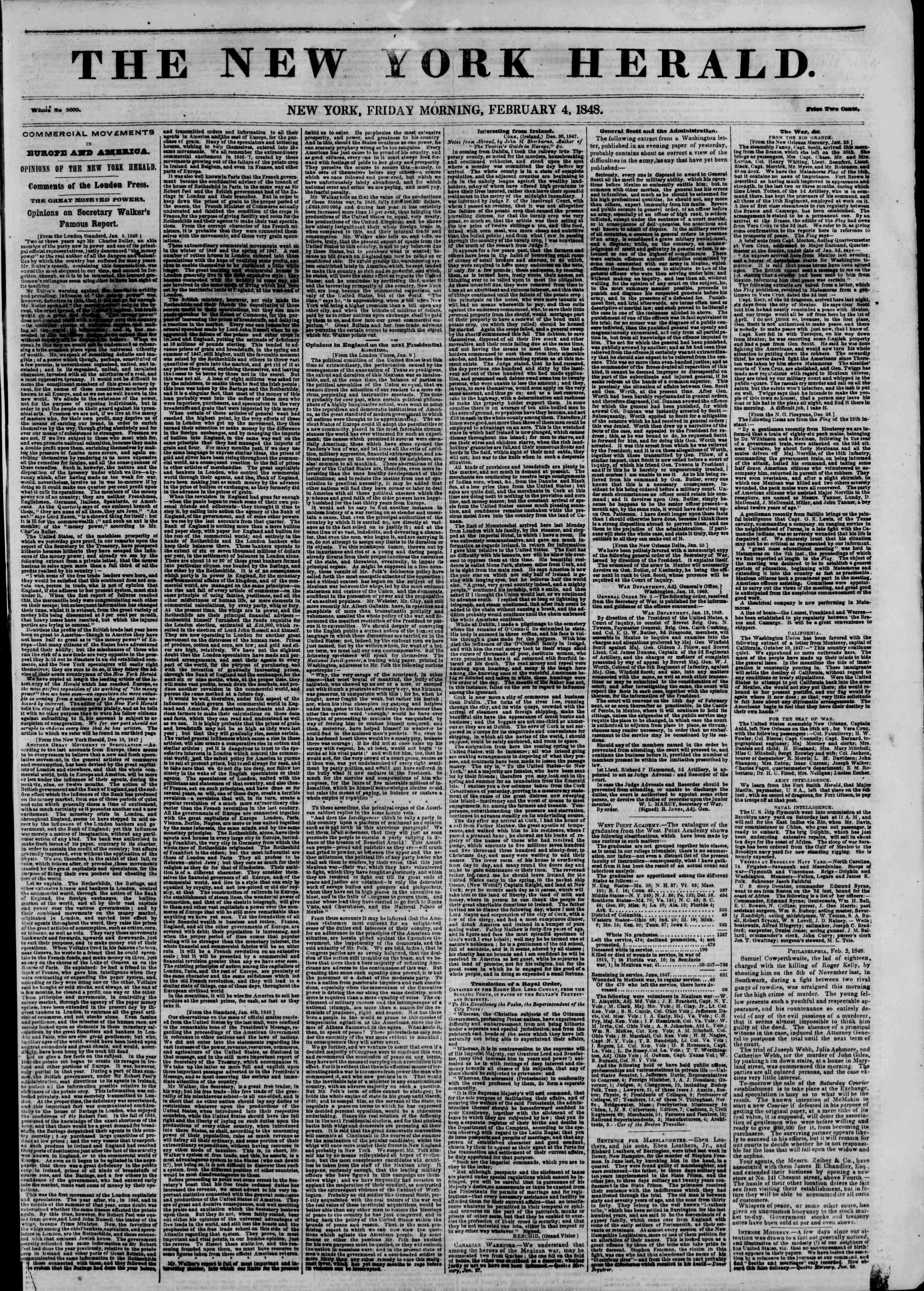 Newspaper of The New York Herald dated 4 Şubat 1848 Page 1