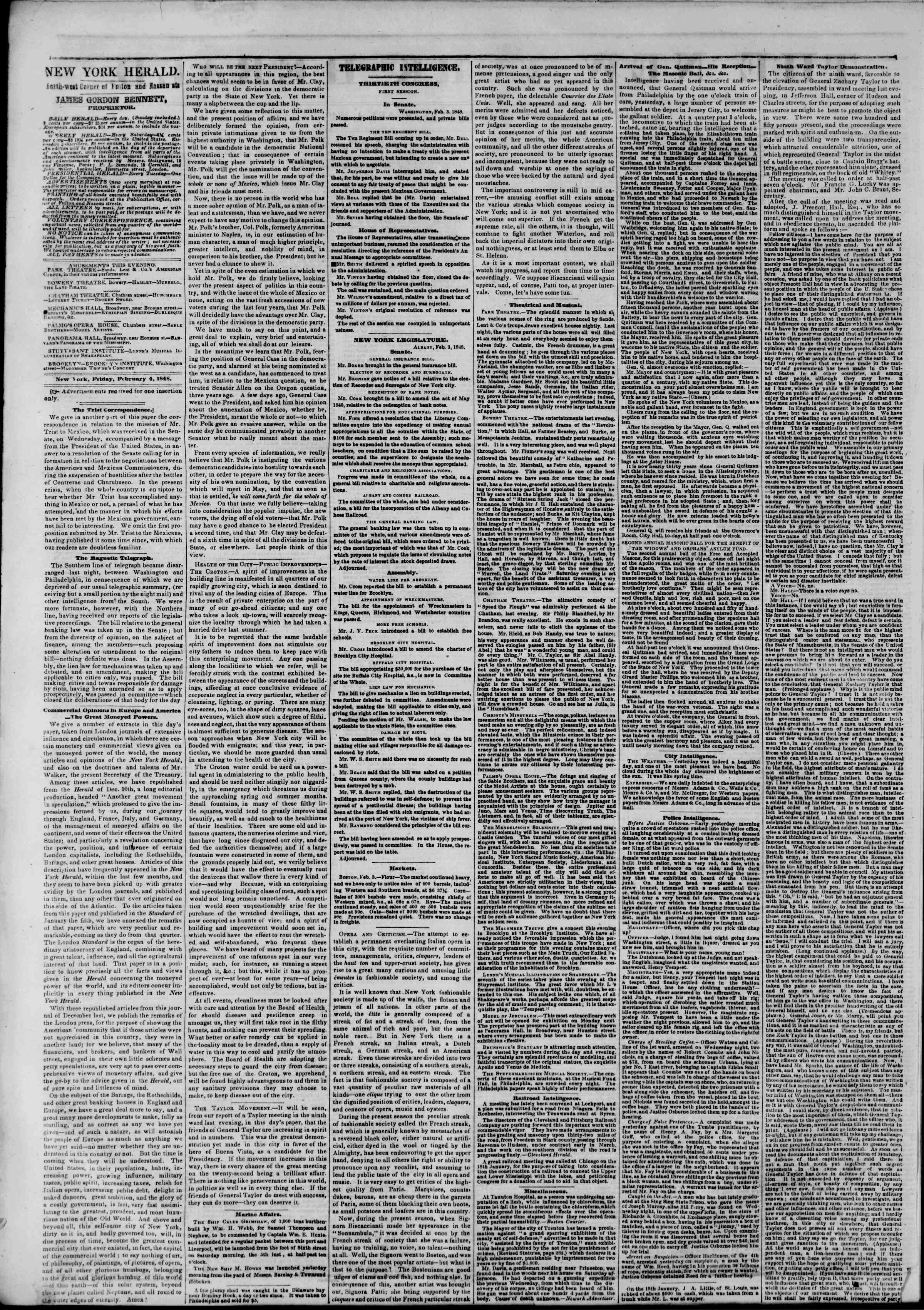 Newspaper of The New York Herald dated February 4, 1848 Page 2