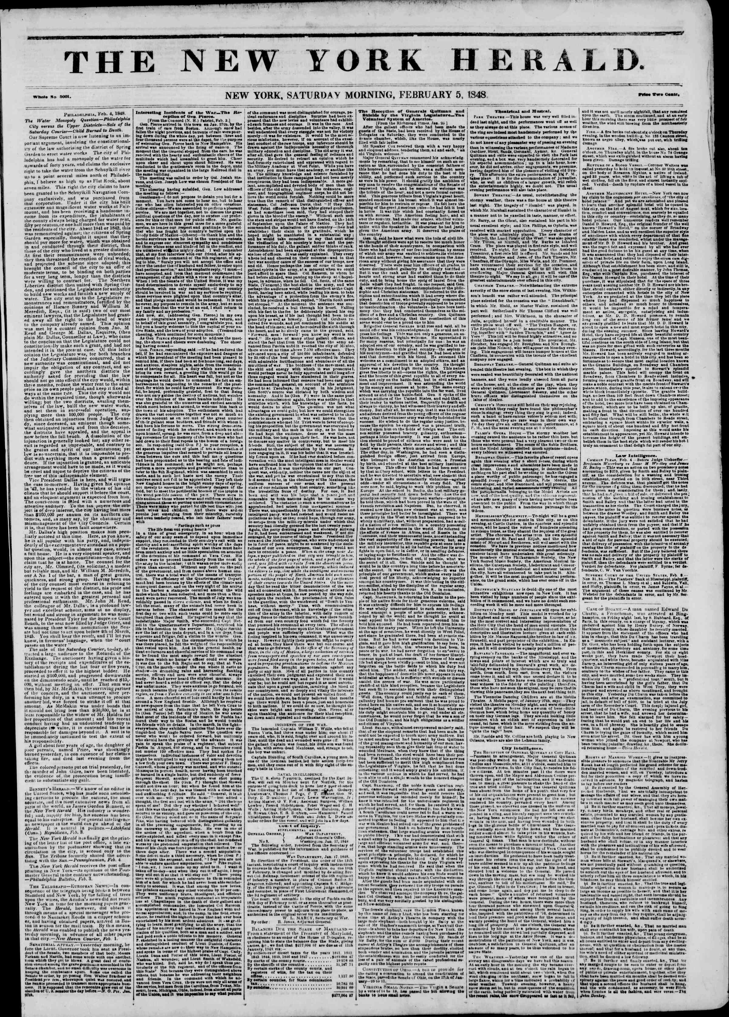Newspaper of The New York Herald dated February 5, 1848 Page 1
