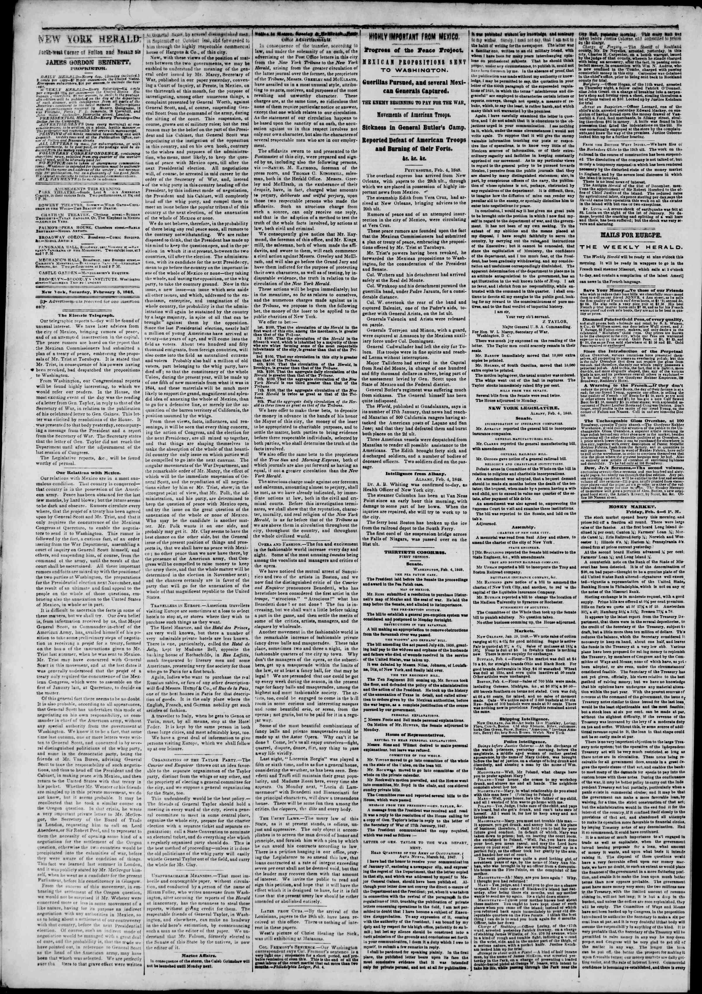 Newspaper of The New York Herald dated February 5, 1848 Page 2