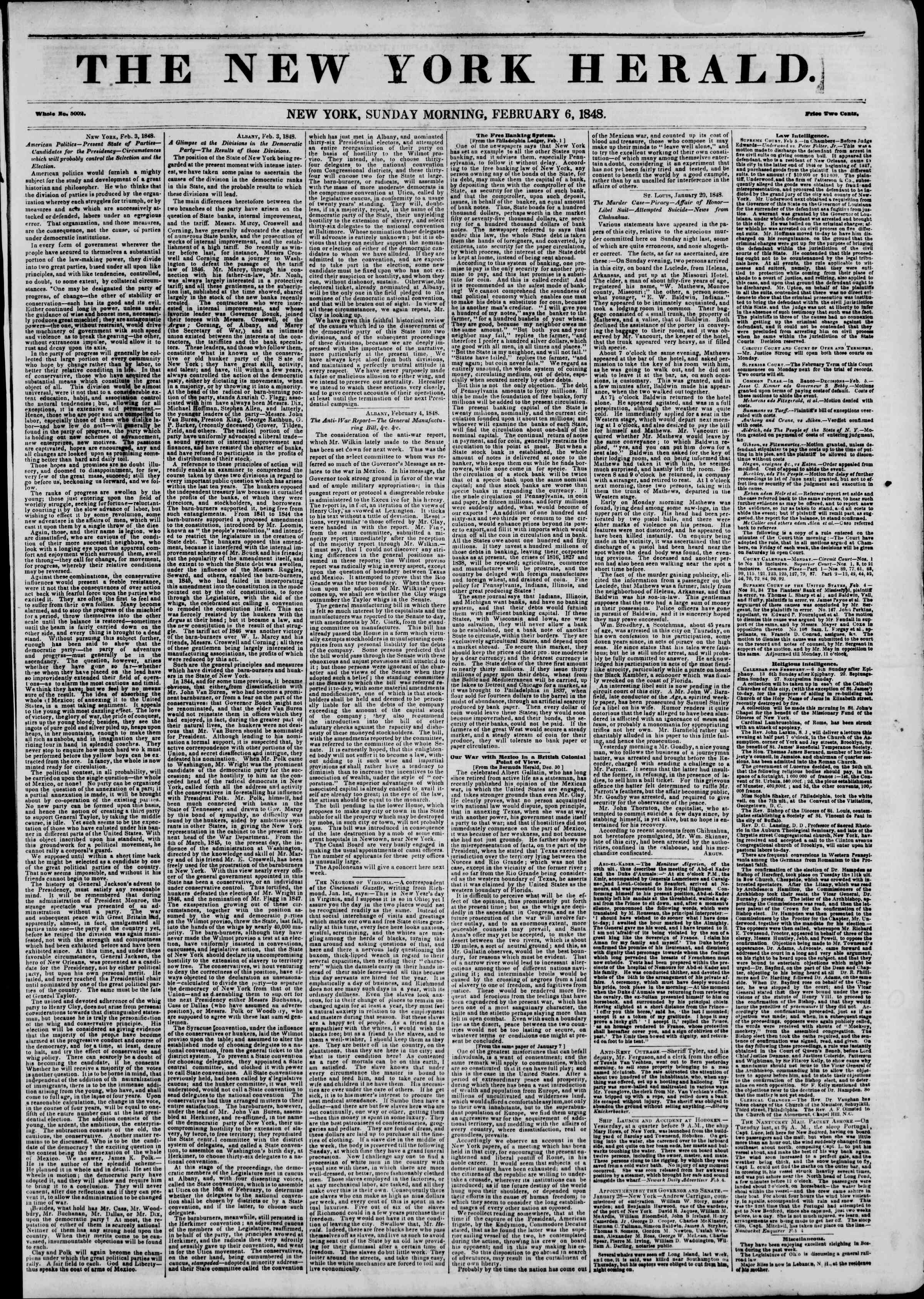 Newspaper of The New York Herald dated February 6, 1848 Page 1