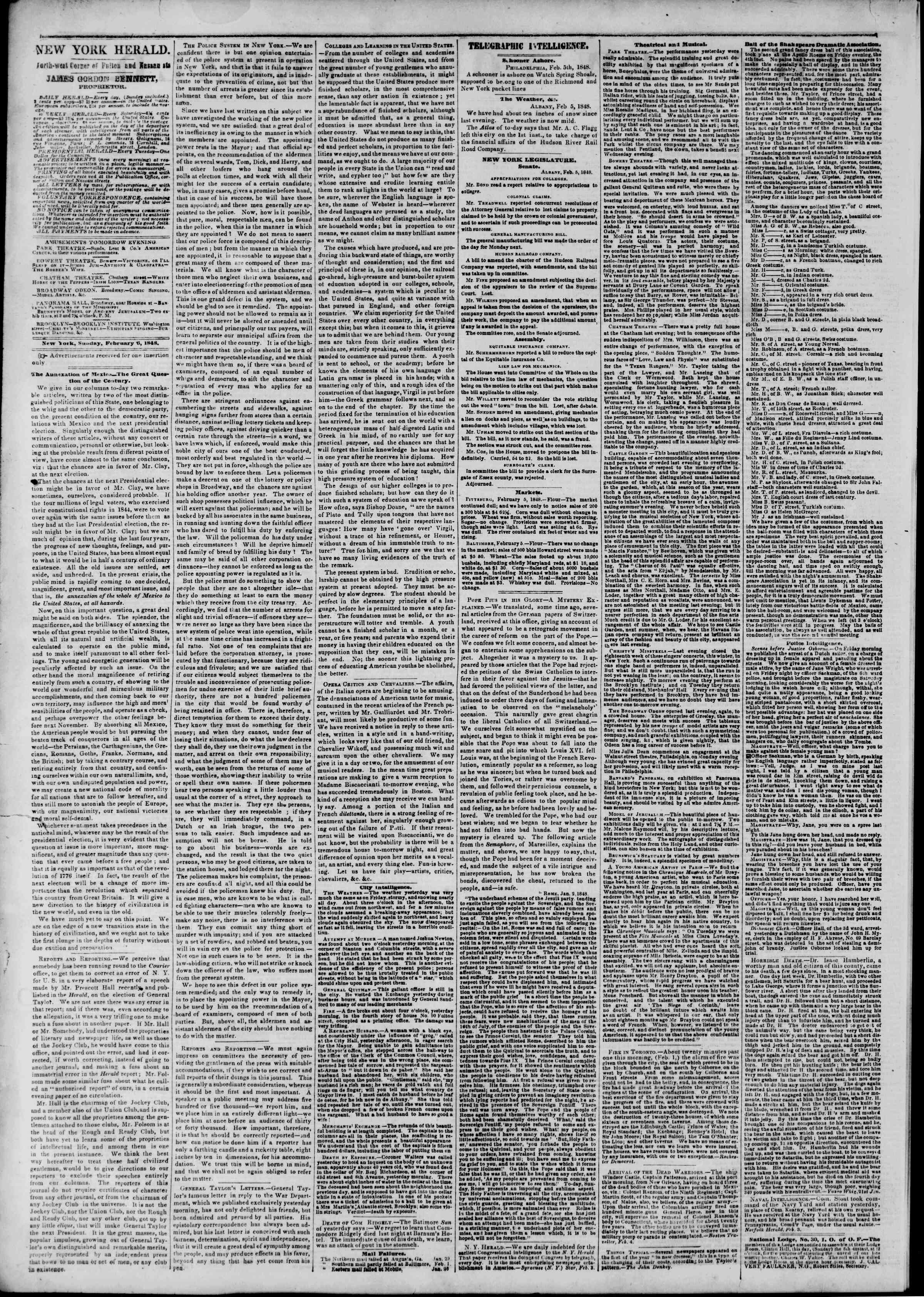 Newspaper of The New York Herald dated February 6, 1848 Page 2