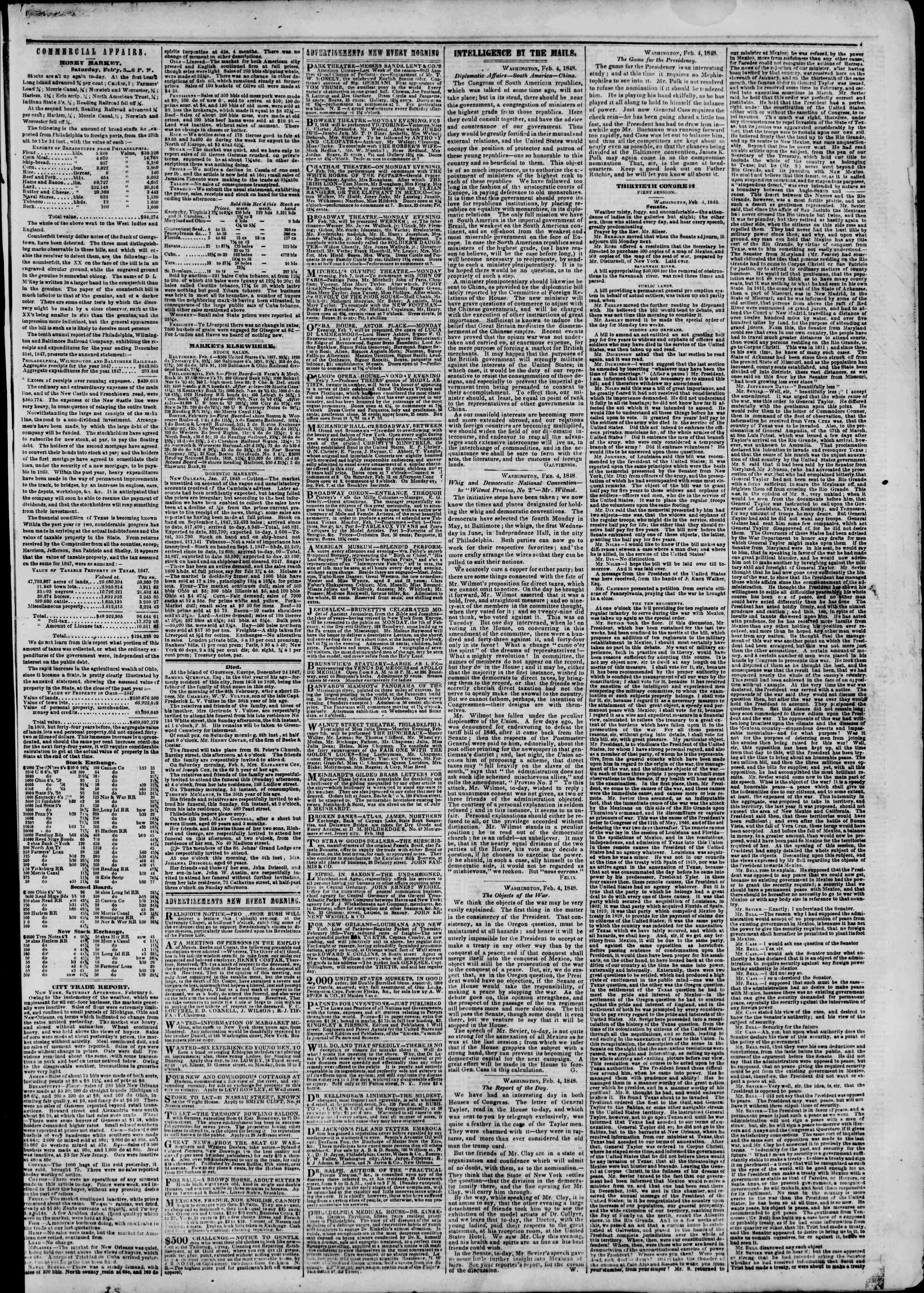 Newspaper of The New York Herald dated February 6, 1848 Page 3