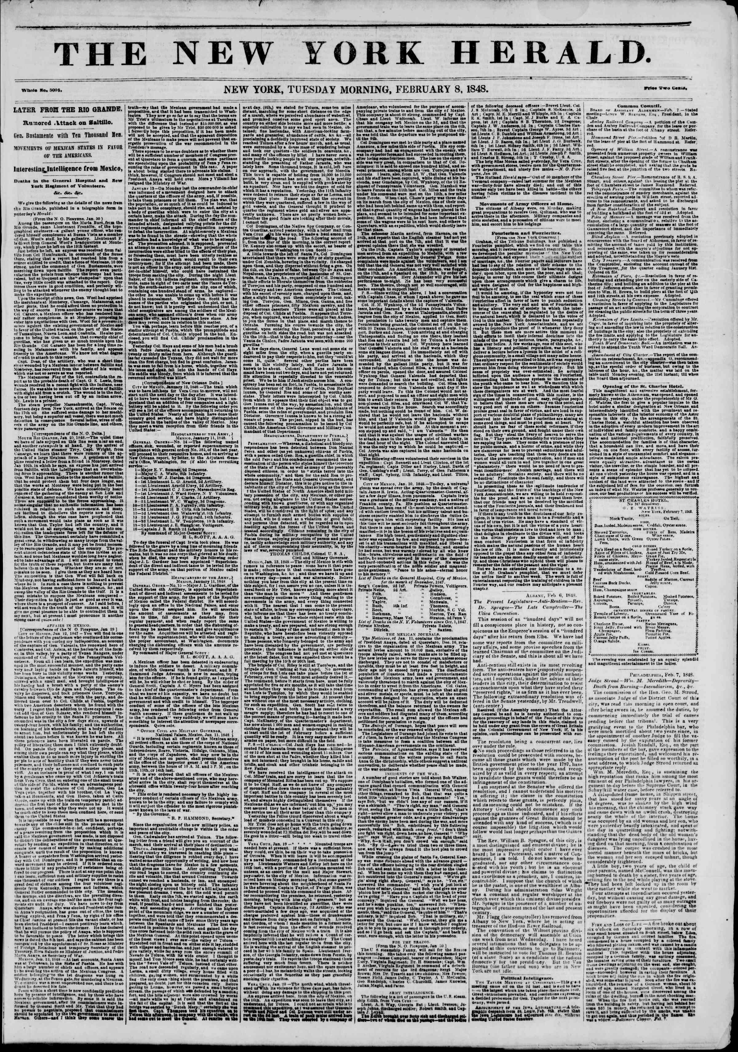 Newspaper of The New York Herald dated February 8, 1848 Page 1