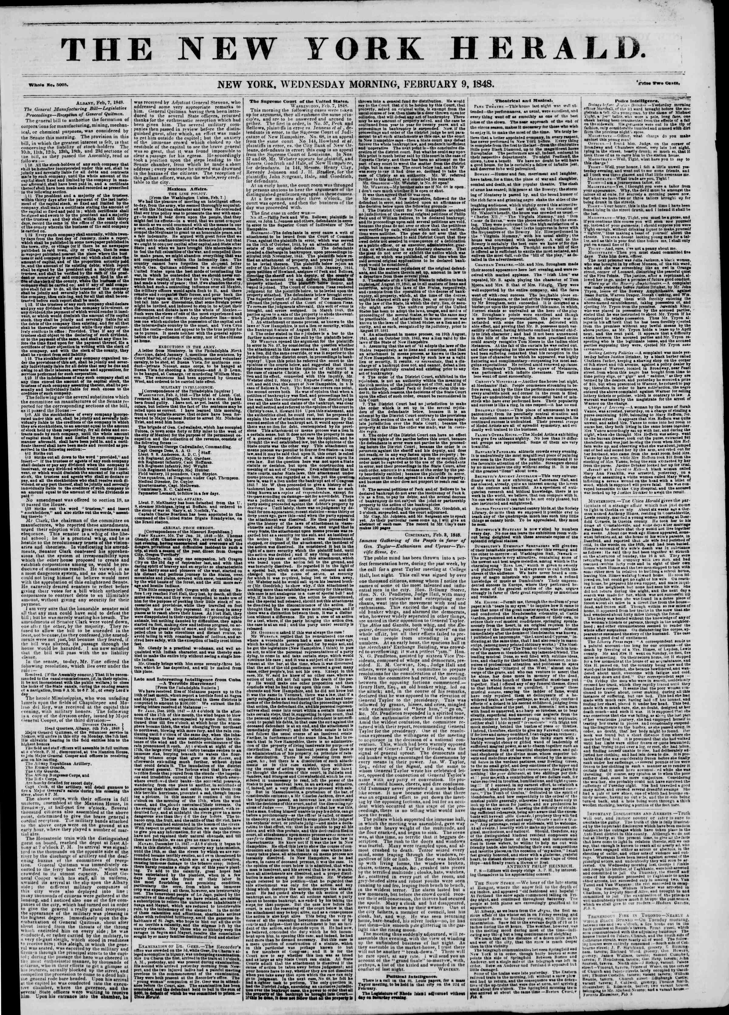 Newspaper of The New York Herald dated February 9, 1848 Page 1