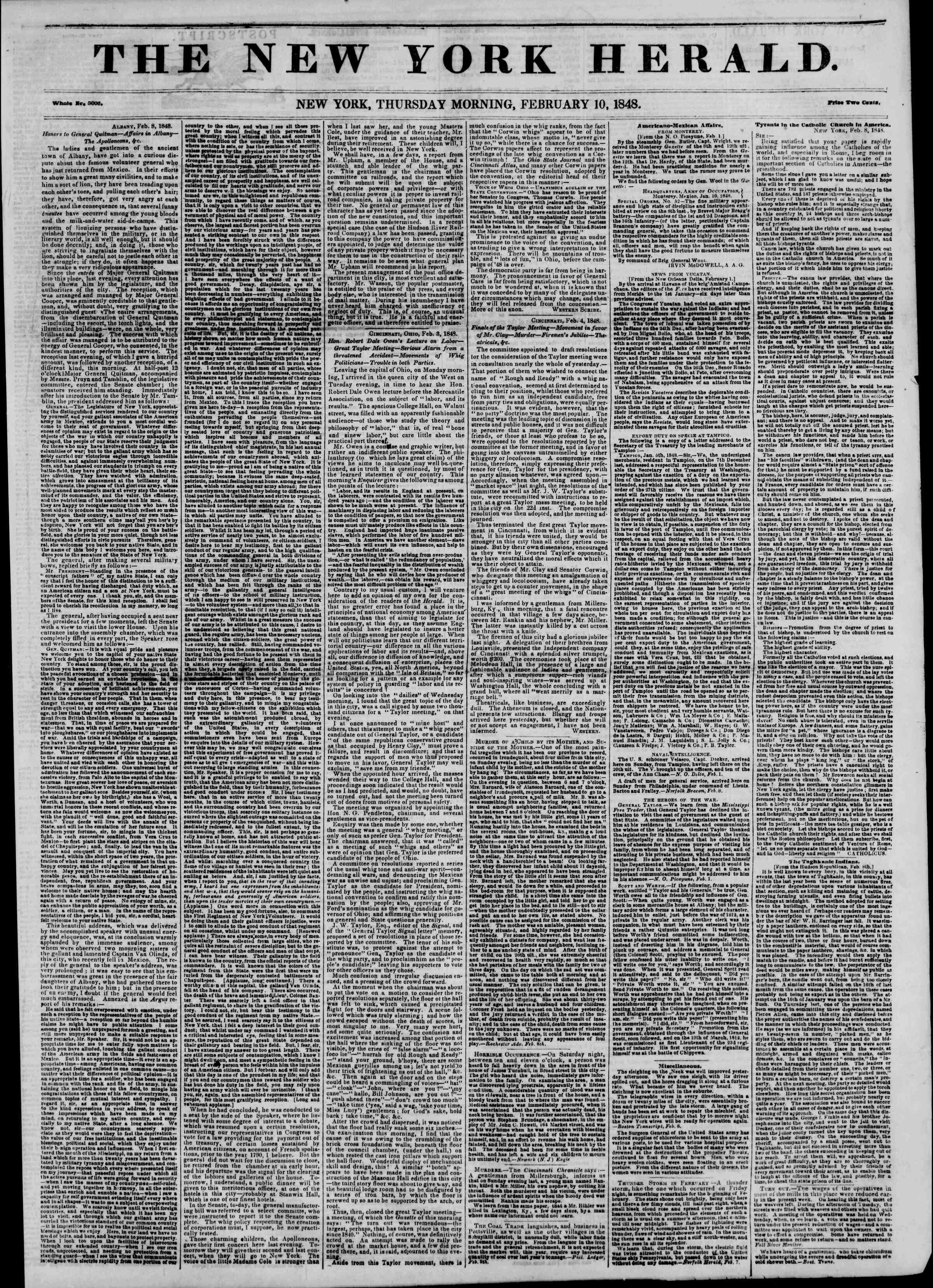 Newspaper of The New York Herald dated February 10, 1848 Page 1