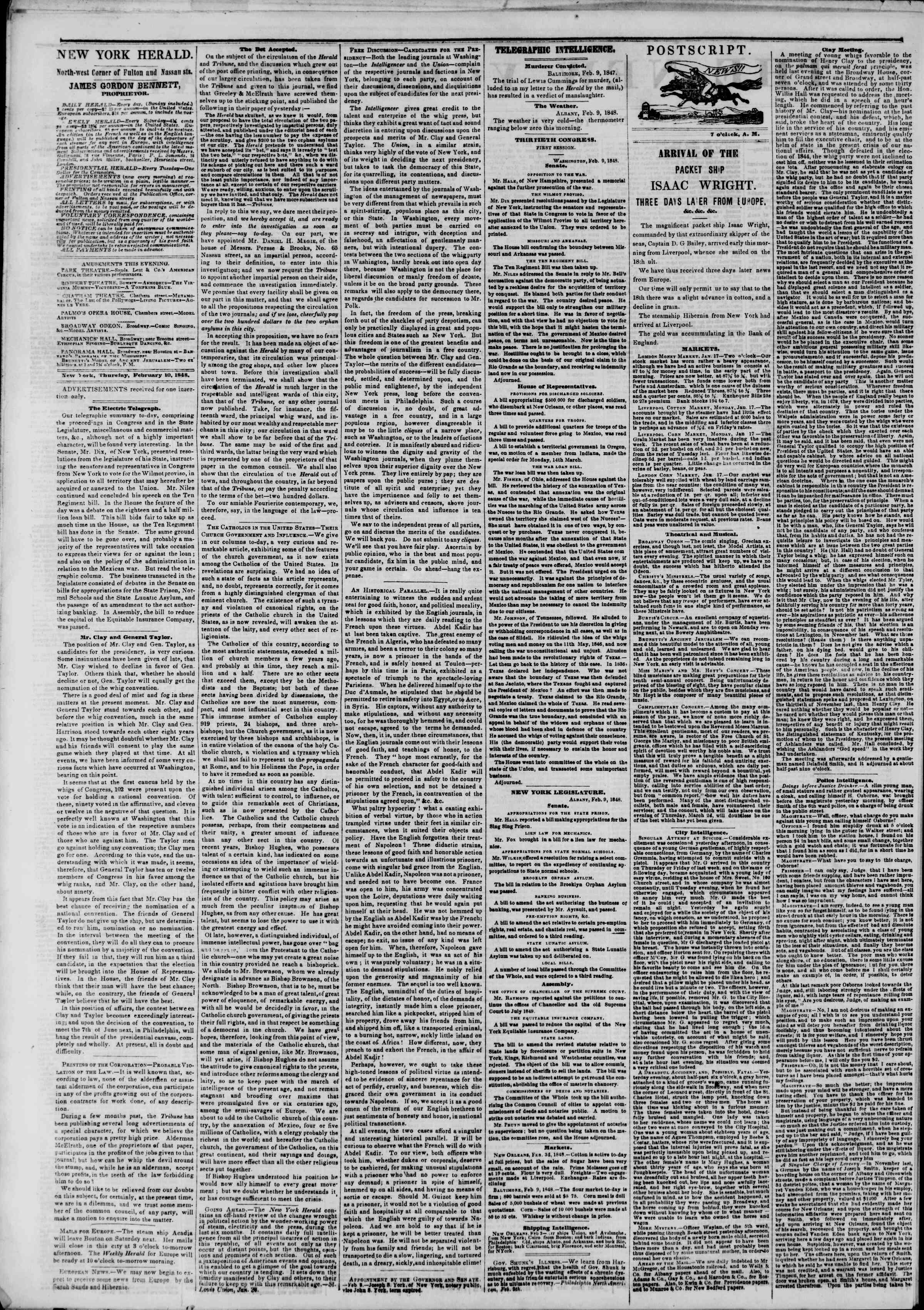 Newspaper of The New York Herald dated February 10, 1848 Page 2