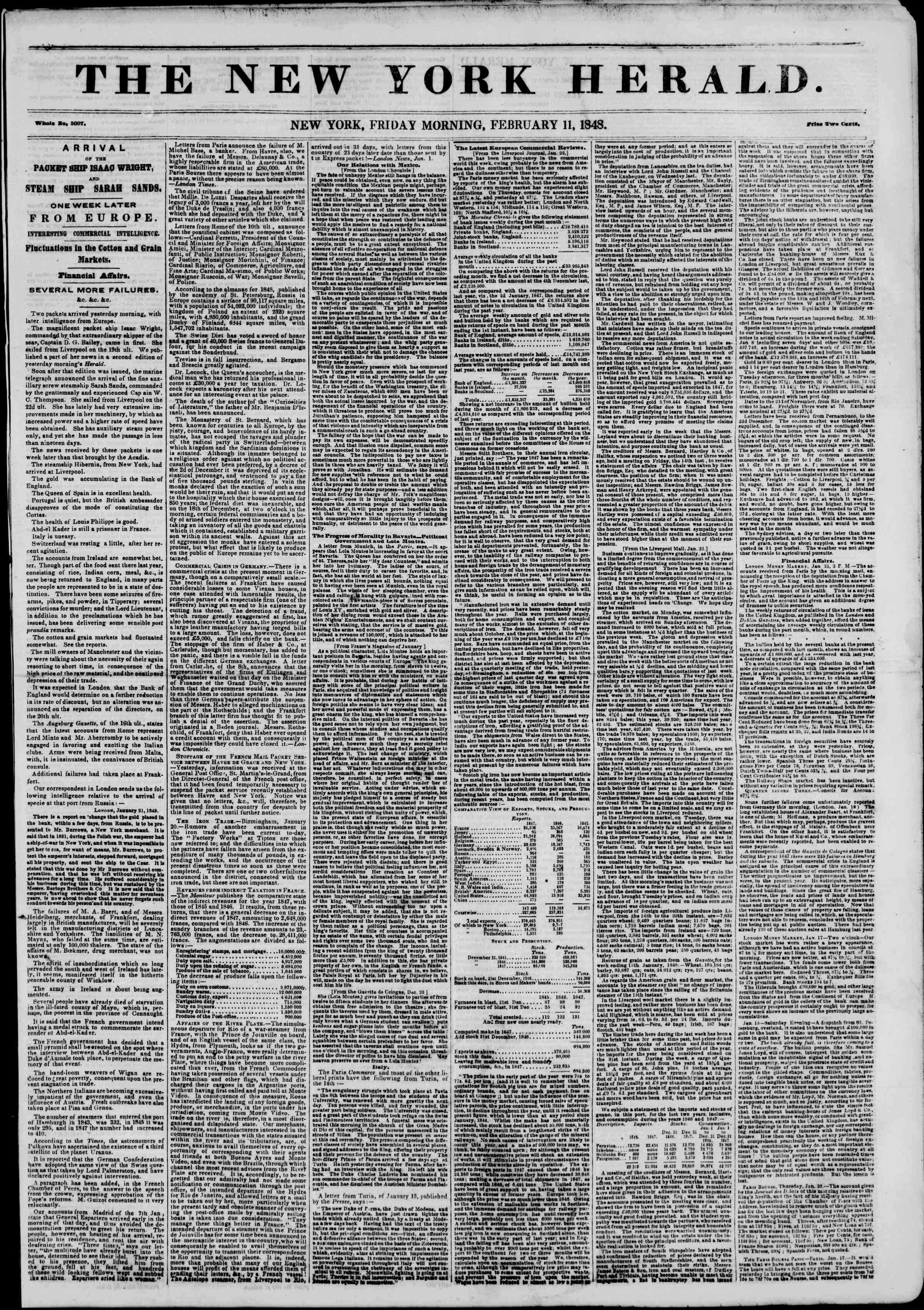 Newspaper of The New York Herald dated February 11, 1848 Page 1