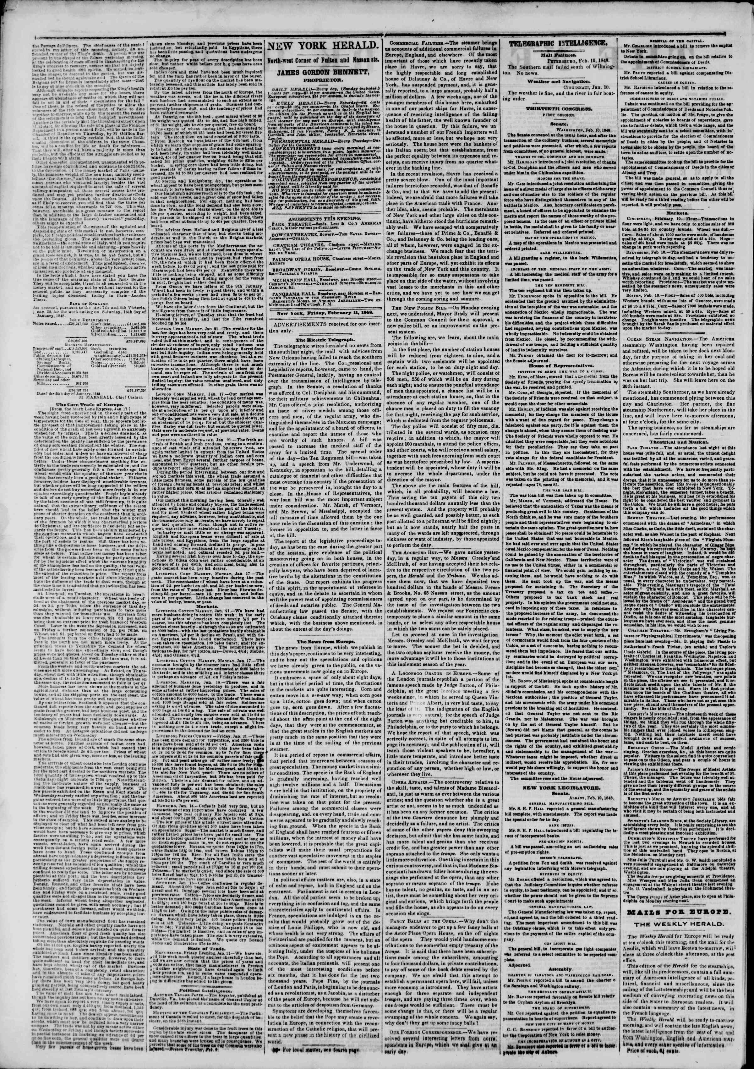 Newspaper of The New York Herald dated February 11, 1848 Page 2