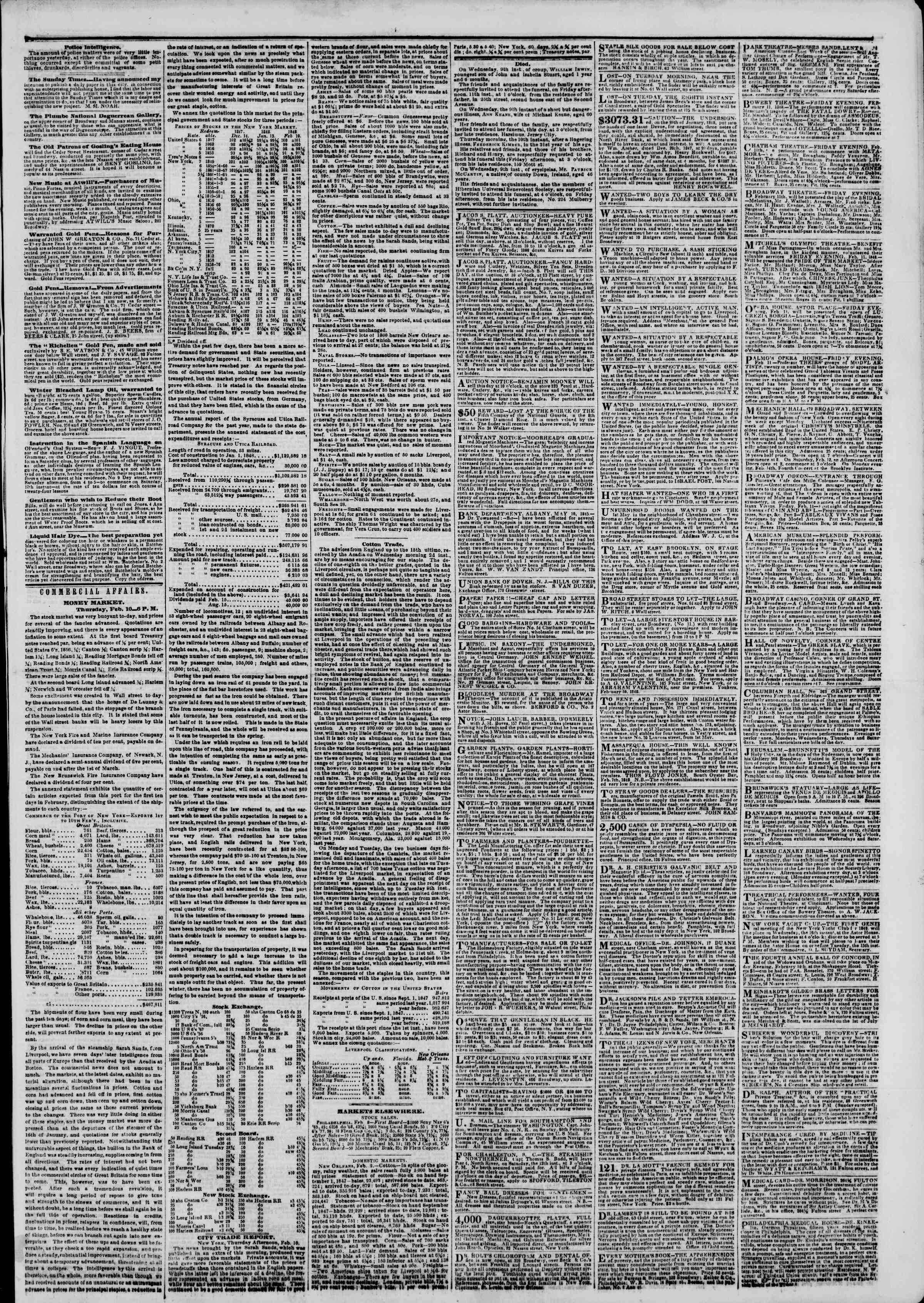 Newspaper of The New York Herald dated February 11, 1848 Page 3