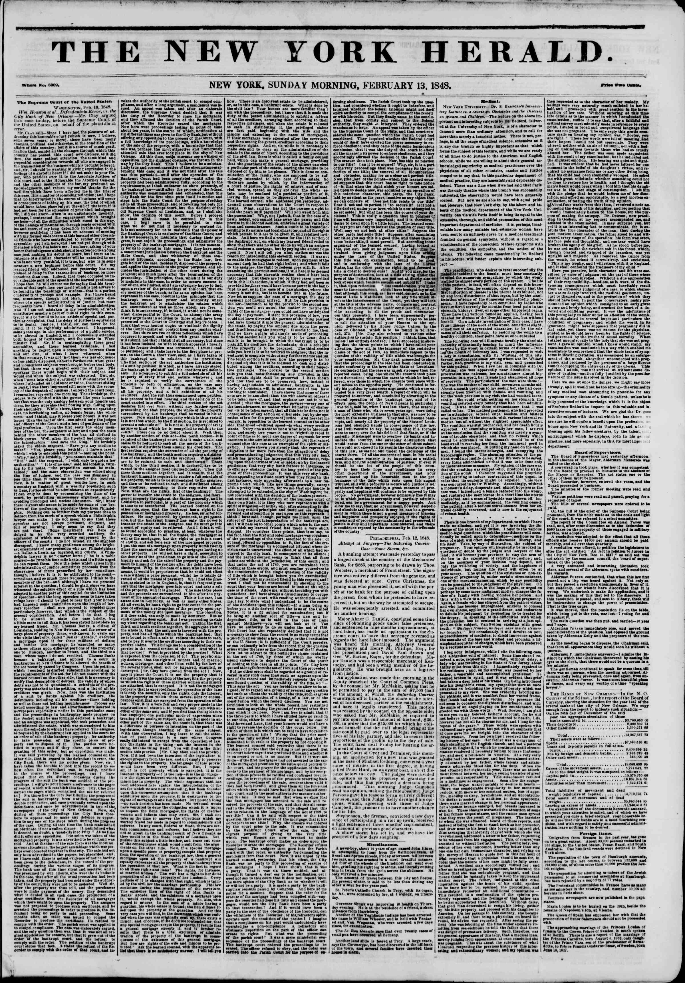 Newspaper of The New York Herald dated February 13, 1848 Page 1