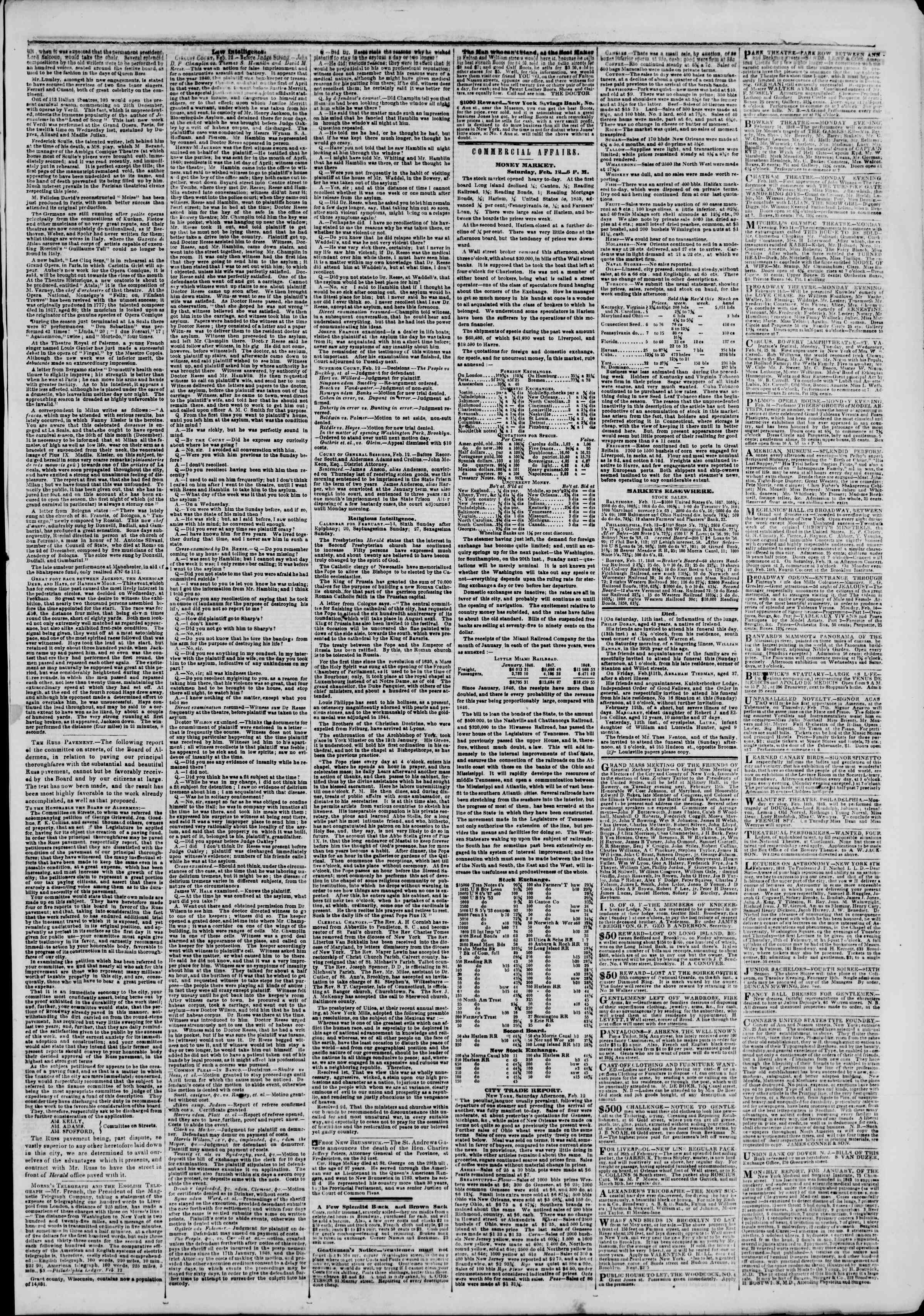 Newspaper of The New York Herald dated February 13, 1848 Page 3