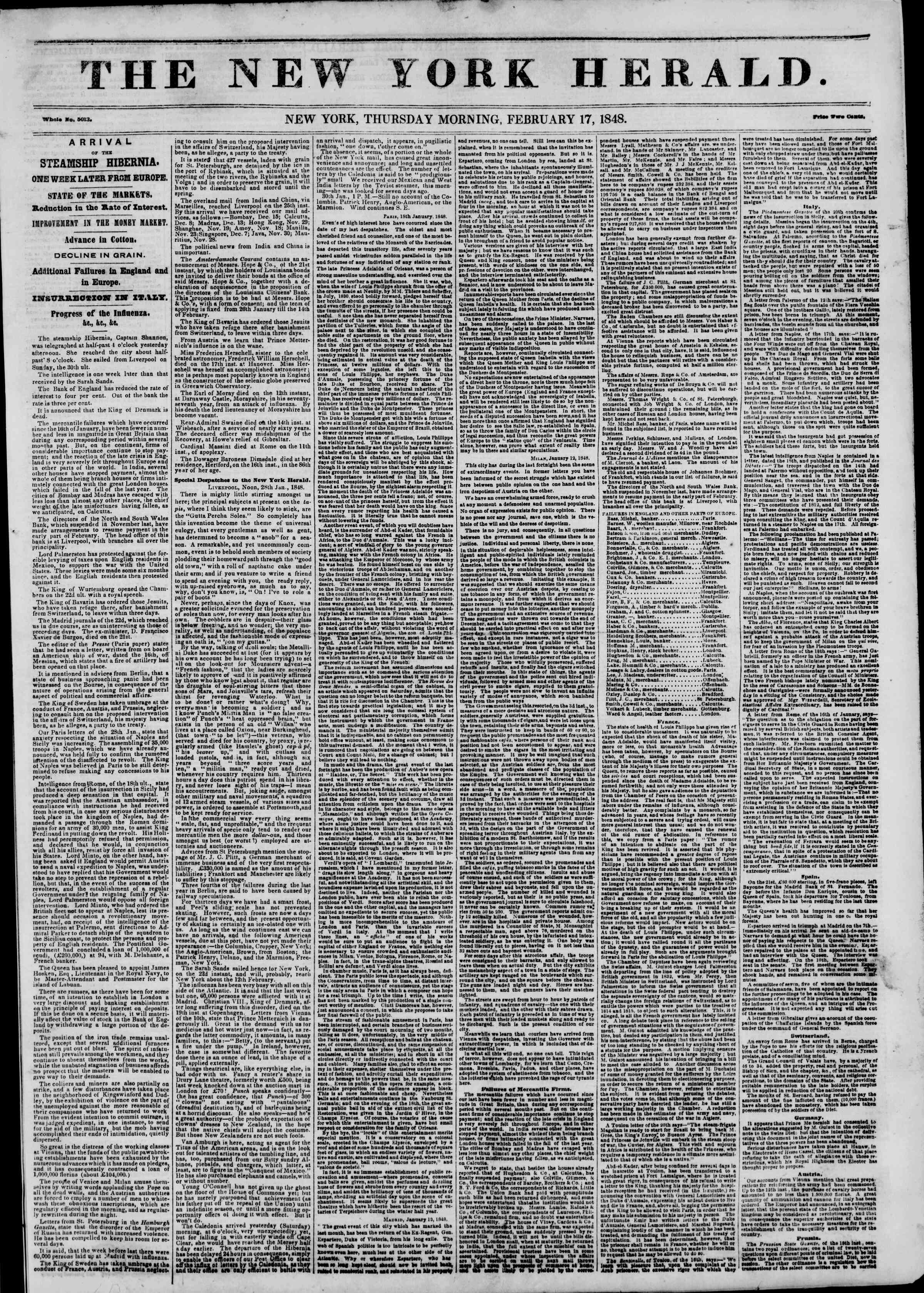 Newspaper of The New York Herald dated February 17, 1848 Page 1