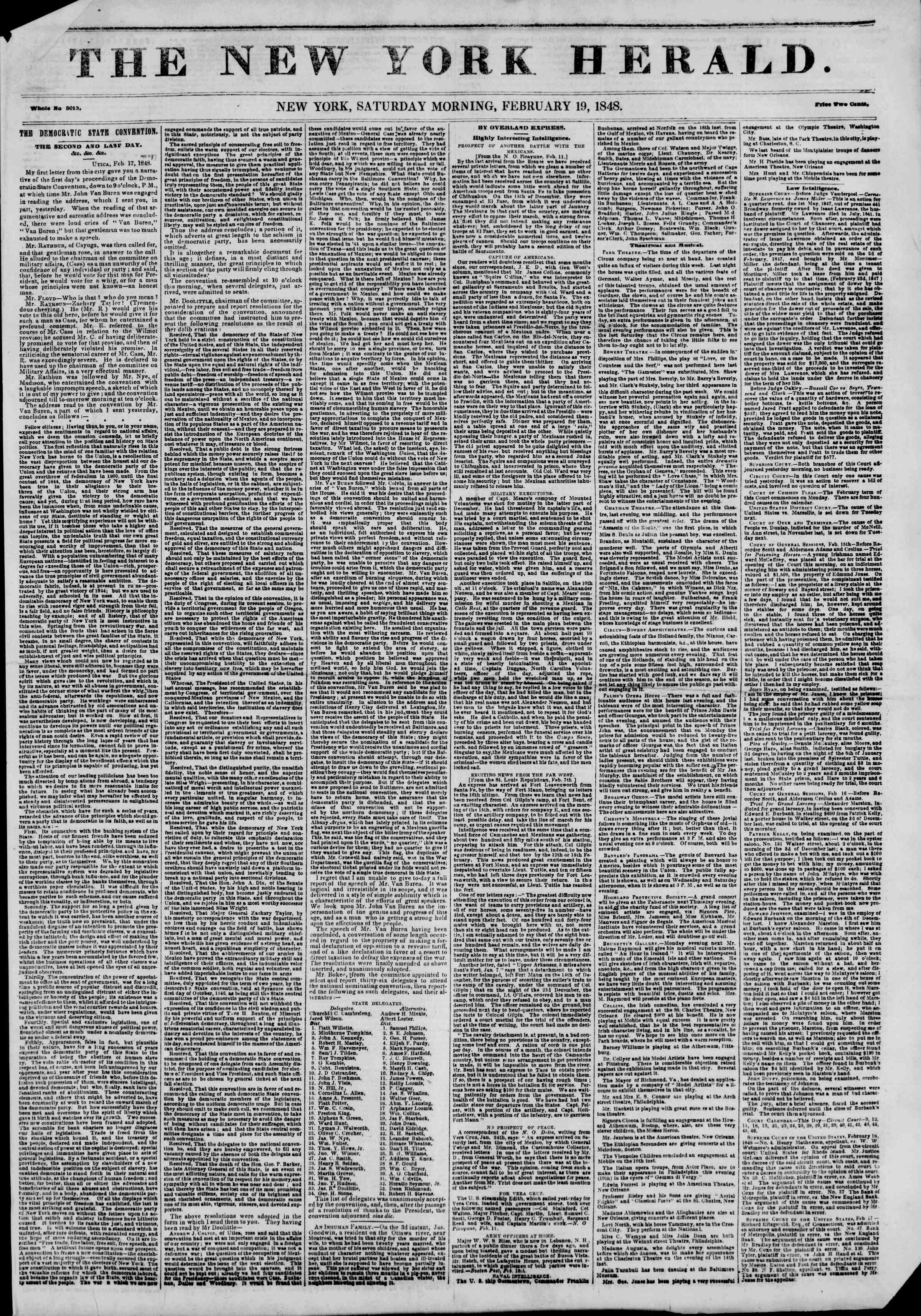Newspaper of The New York Herald dated February 19, 1848 Page 1