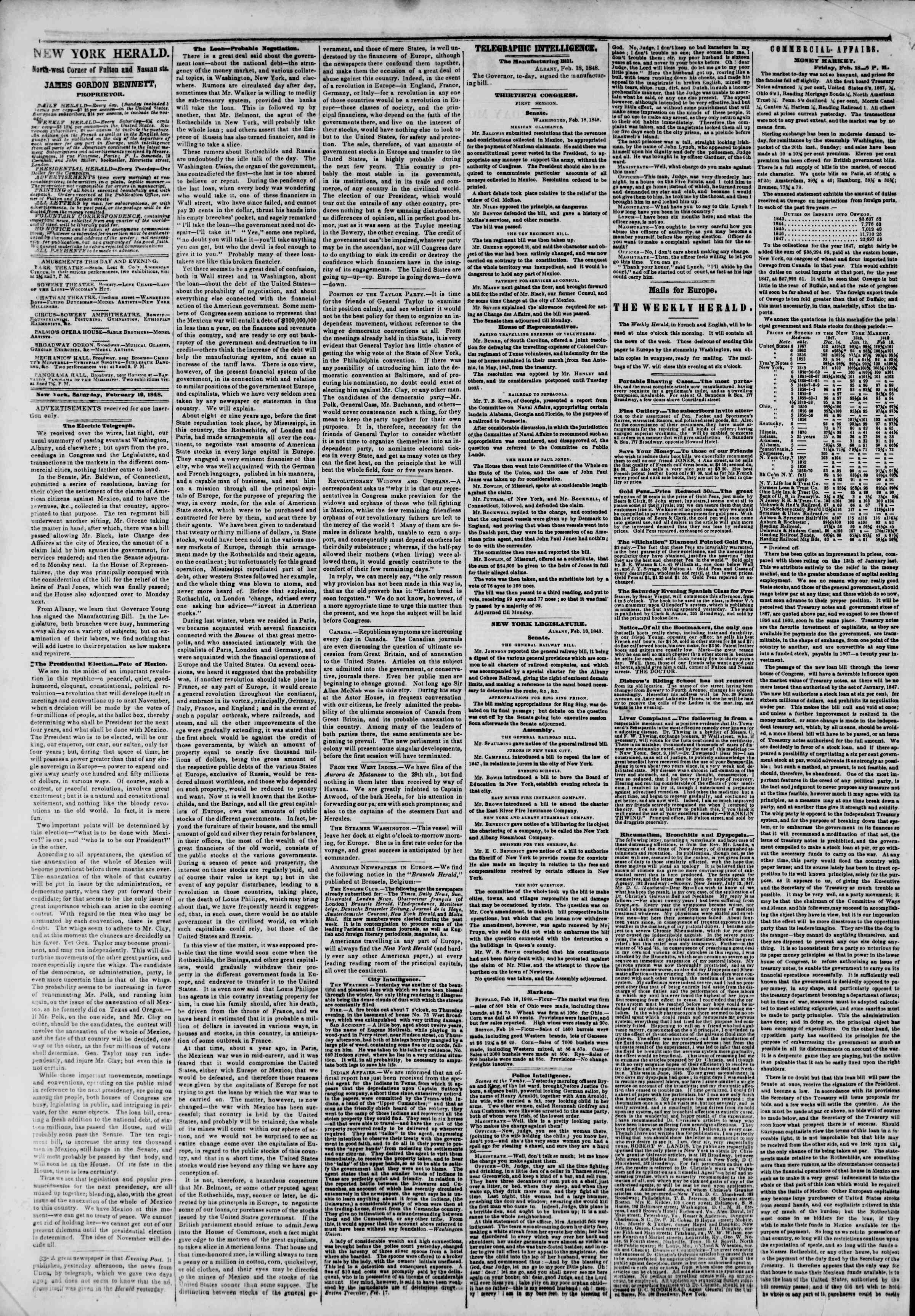 Newspaper of The New York Herald dated February 19, 1848 Page 2