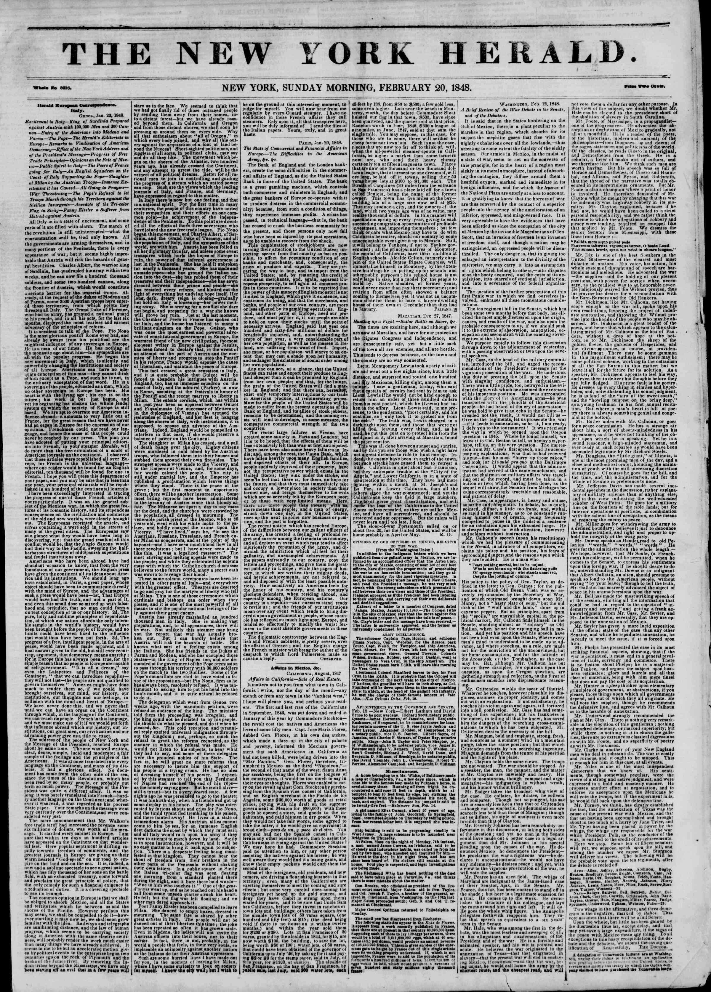 Newspaper of The New York Herald dated February 20, 1848 Page 1