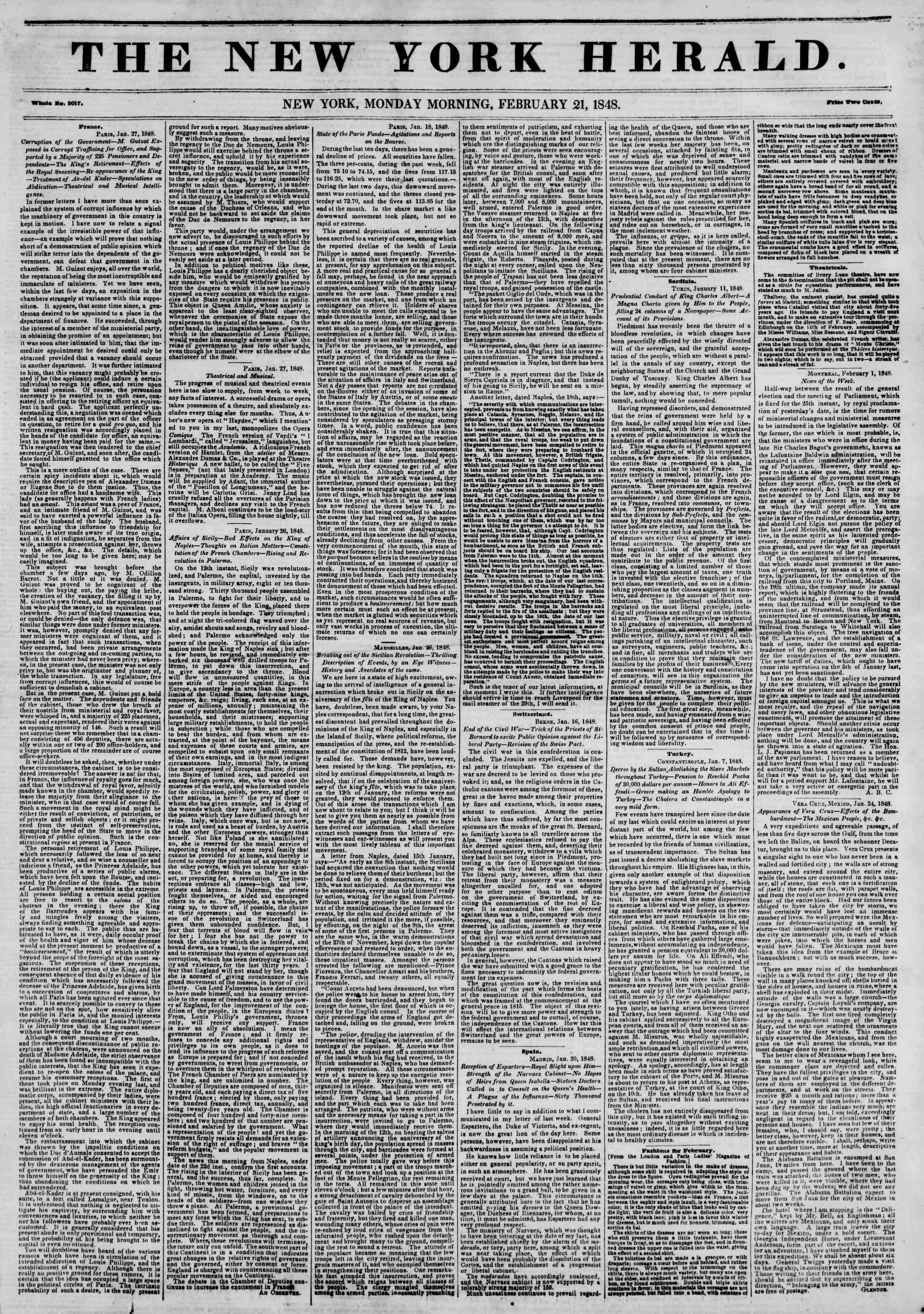 Newspaper of The New York Herald dated 21 Şubat 1848 Page 1