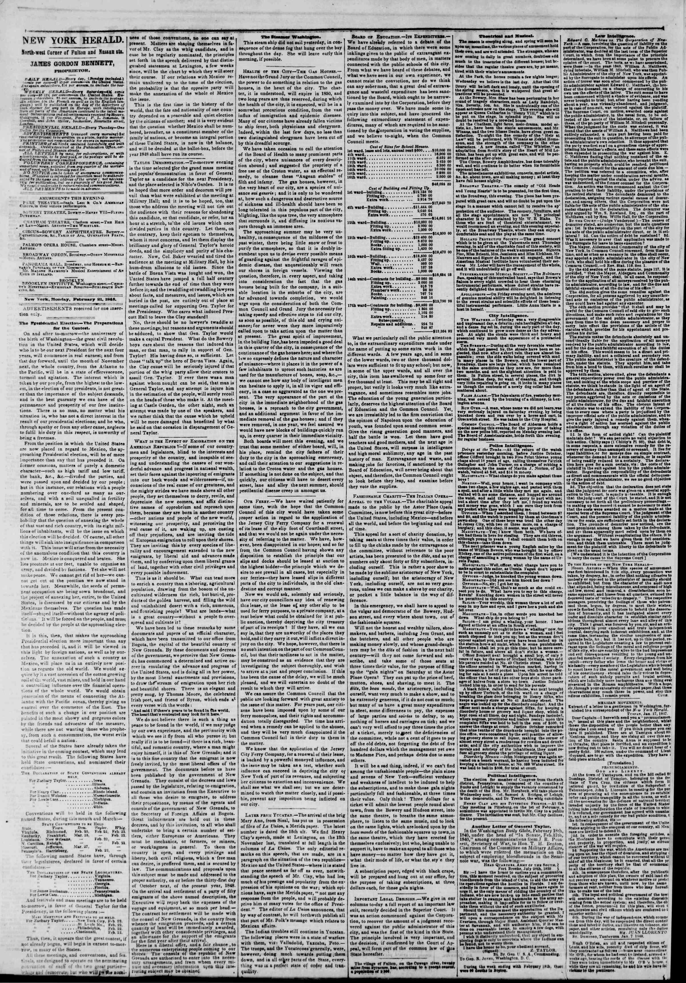 21 Şubat 1848 tarihli The New York Herald Gazetesi Sayfa 2