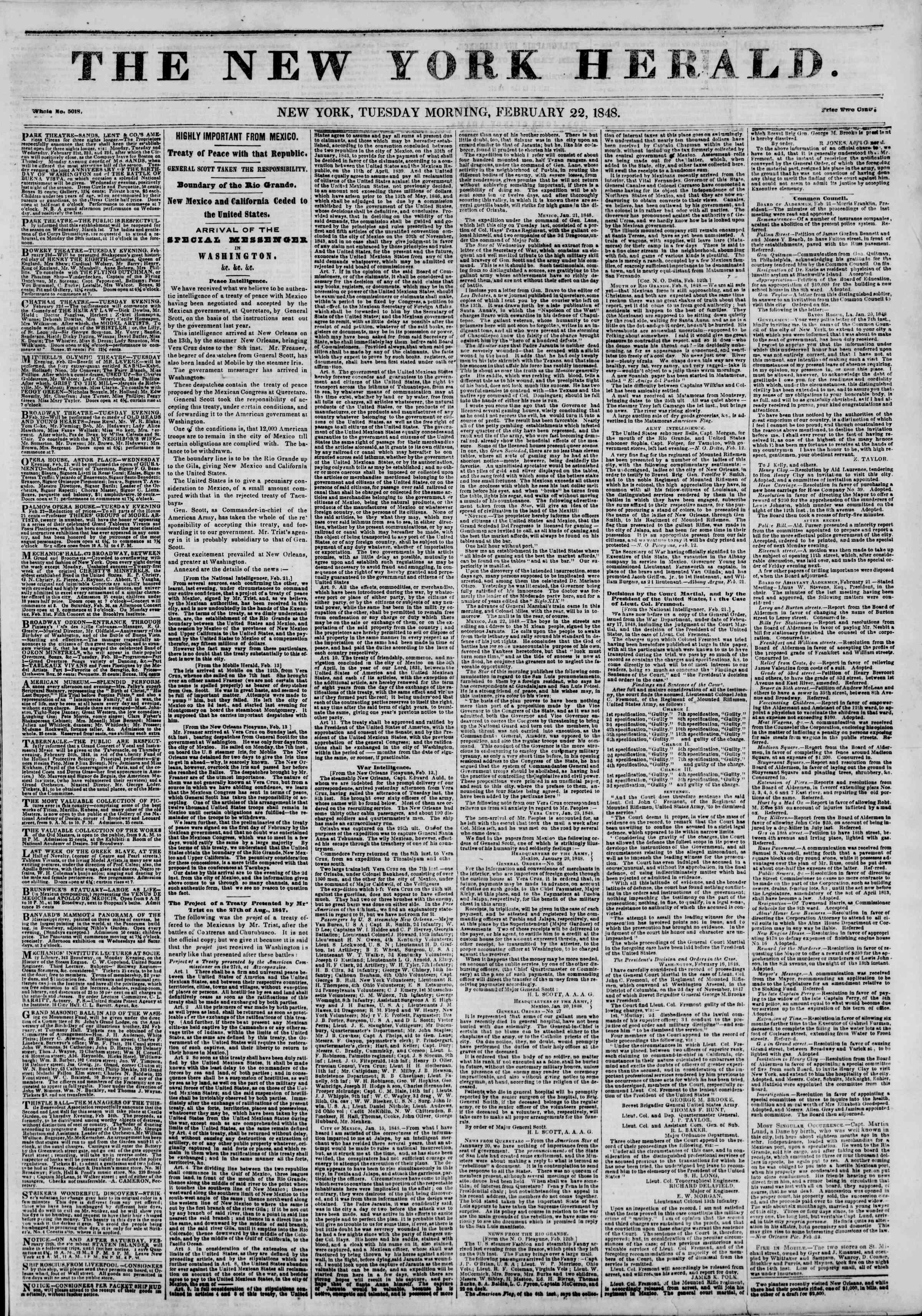 22 Şubat 1848 tarihli The New York Herald Gazetesi Sayfa 1