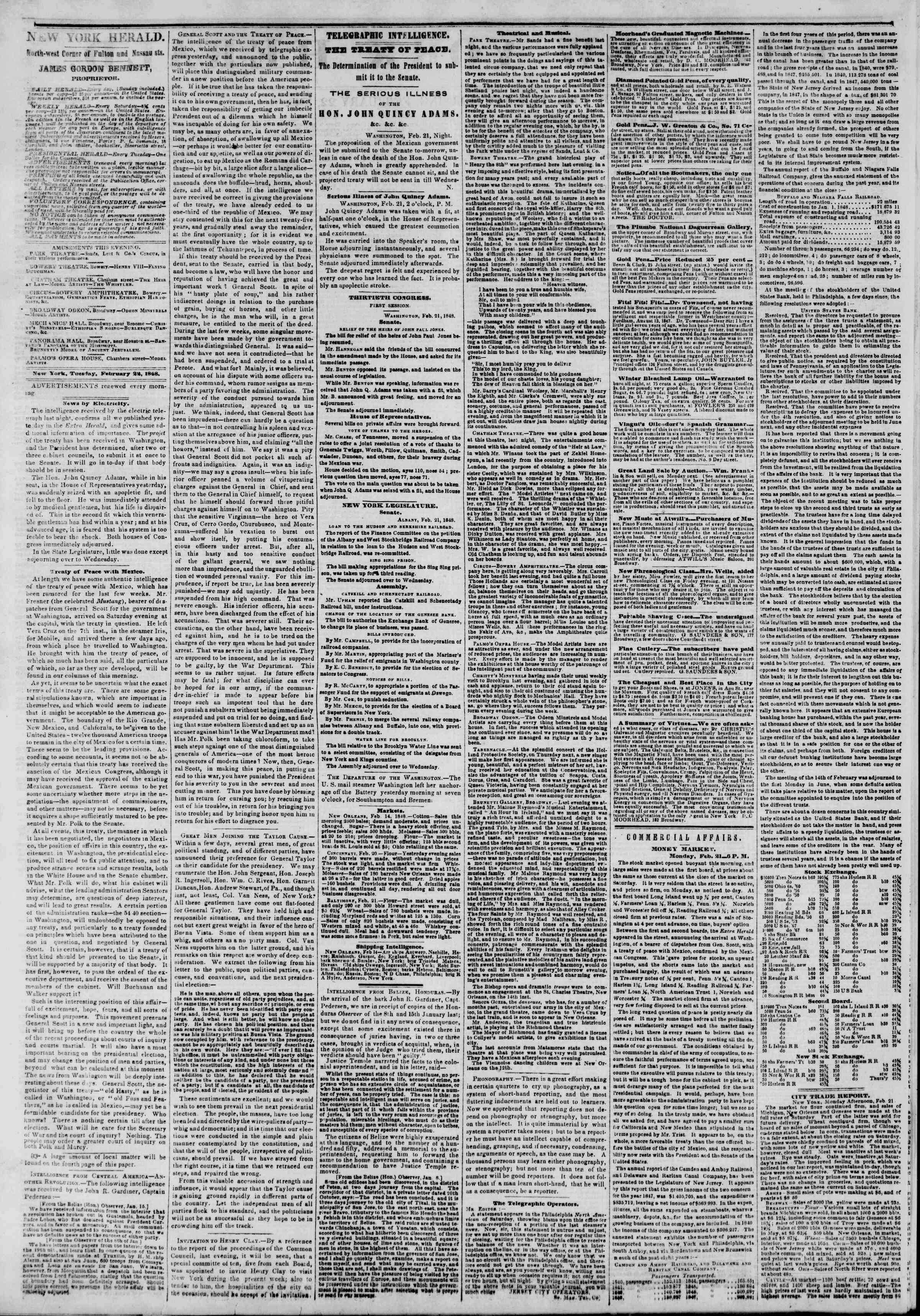 Newspaper of The New York Herald dated February 22, 1848 Page 2