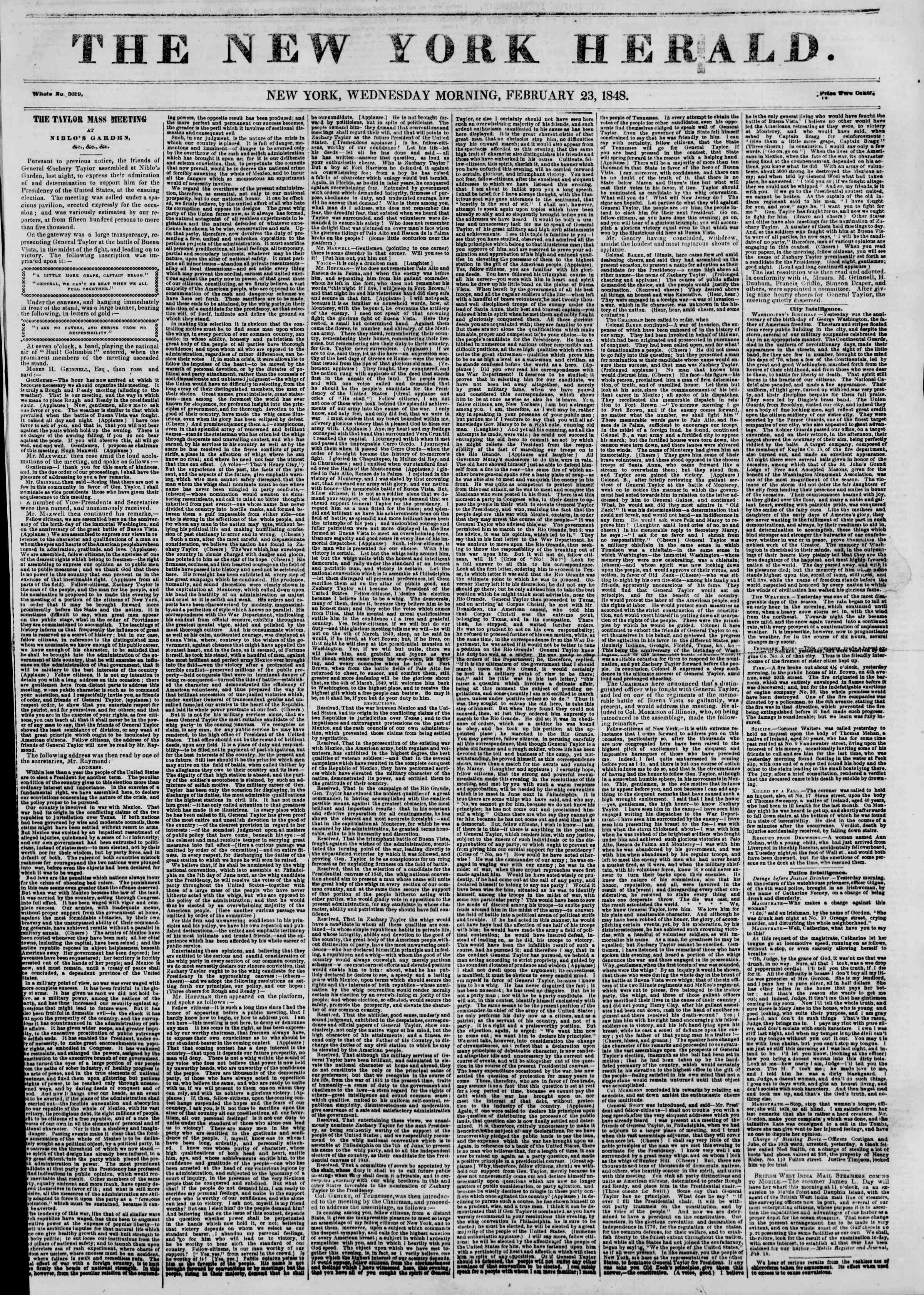 Newspaper of The New York Herald dated February 23, 1848 Page 1