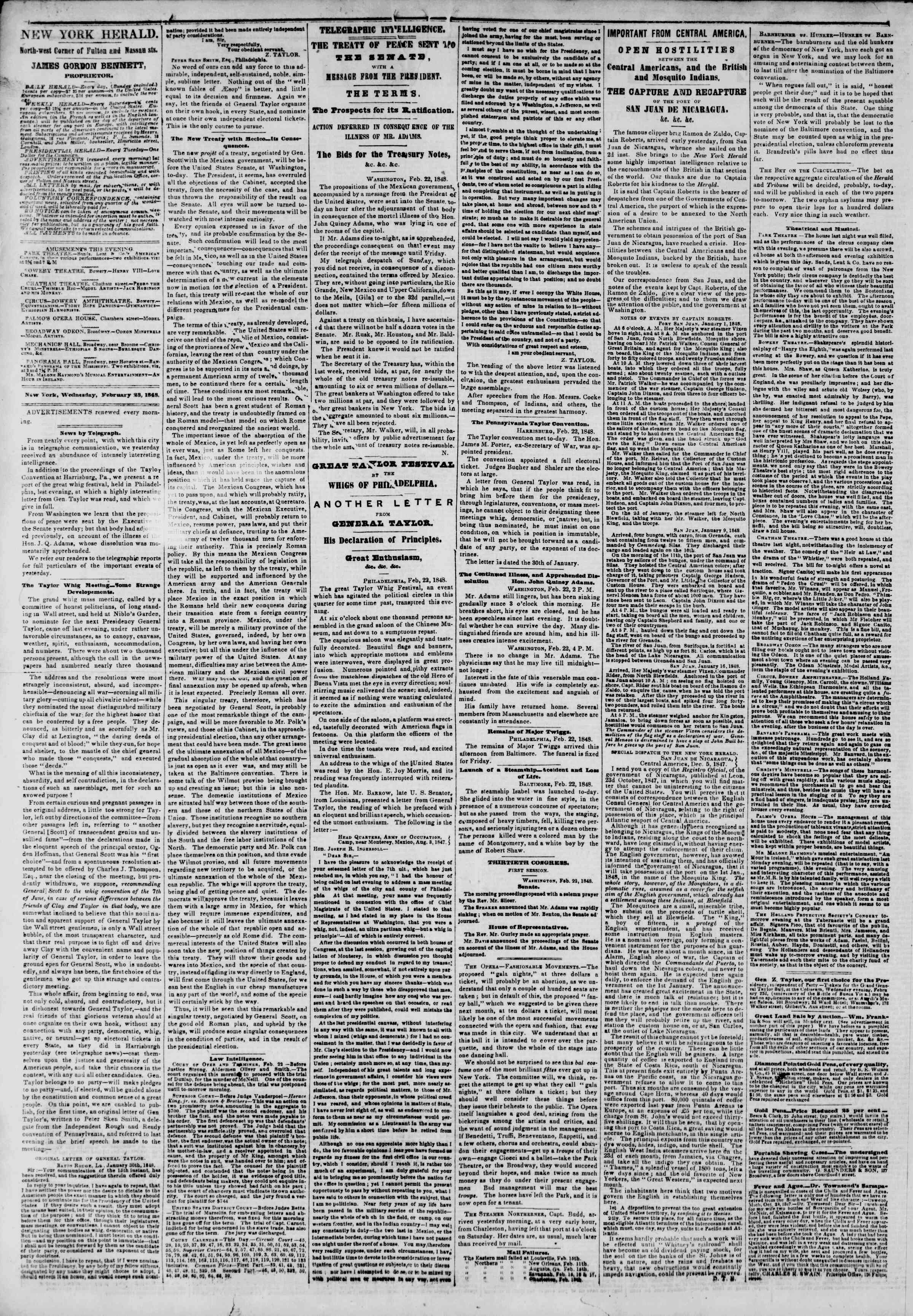 Newspaper of The New York Herald dated February 23, 1848 Page 2