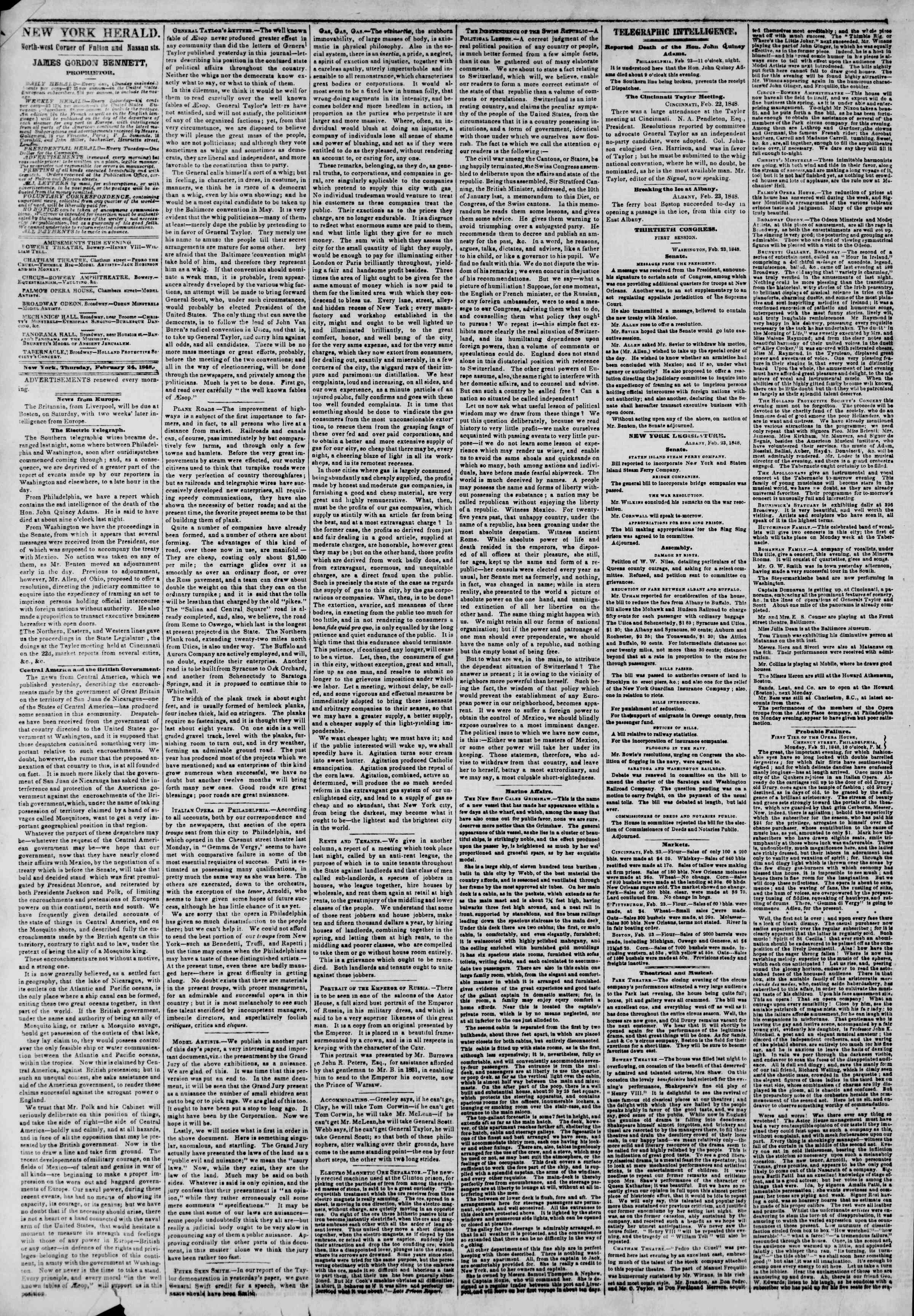 Newspaper of The New York Herald dated February 24, 1848 Page 2