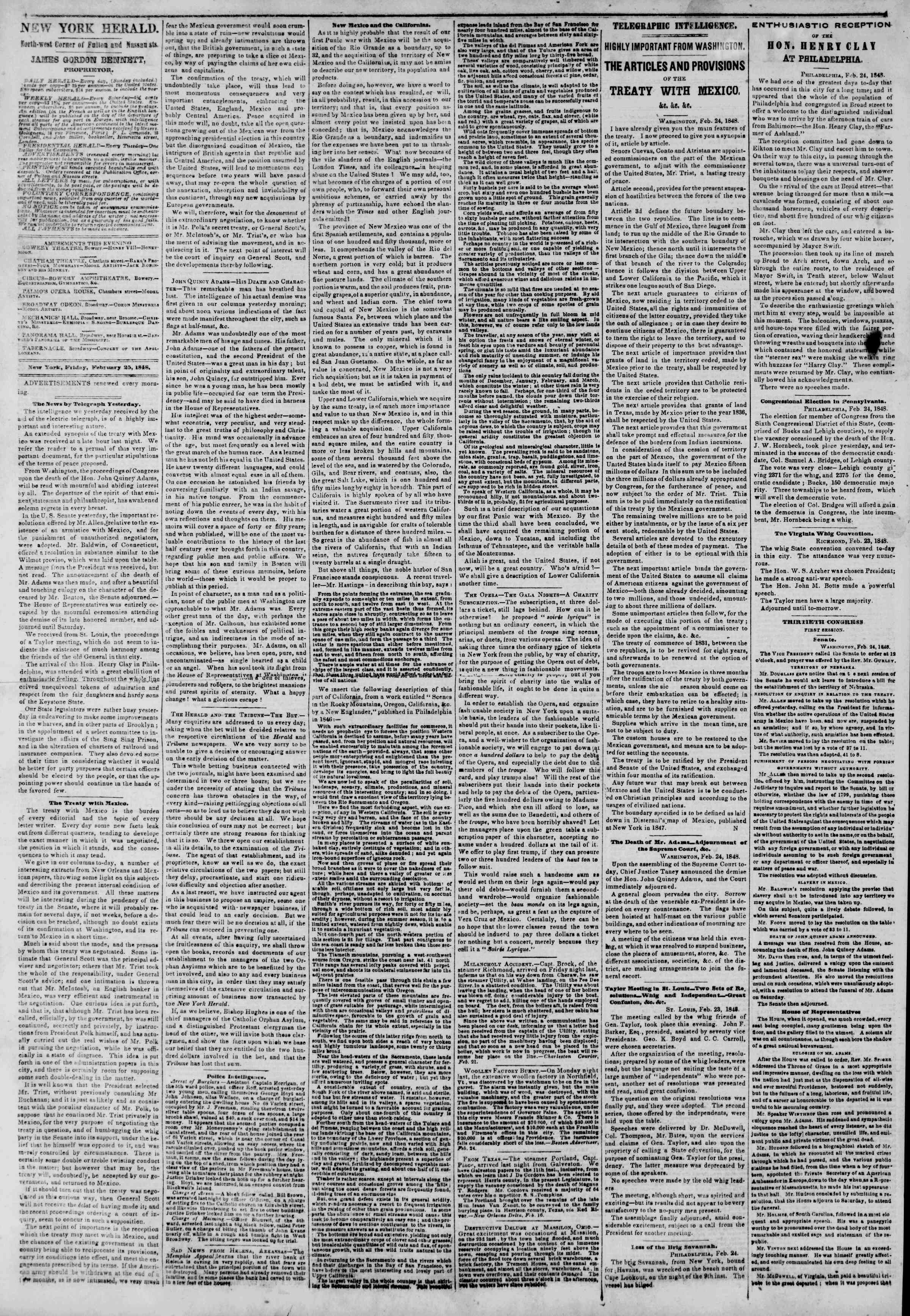 Newspaper of The New York Herald dated February 25, 1848 Page 2