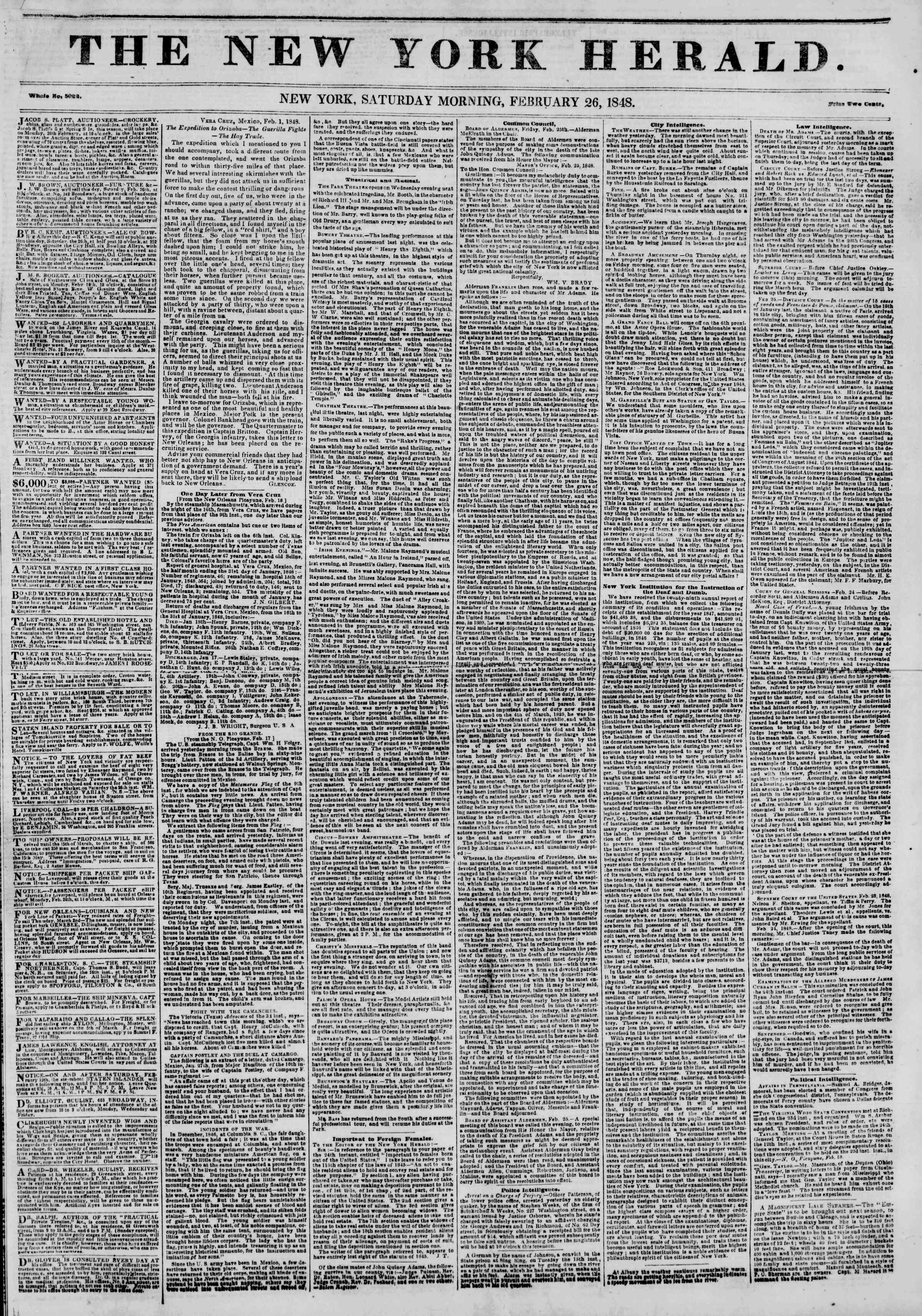 Newspaper of The New York Herald dated February 26, 1848 Page 1