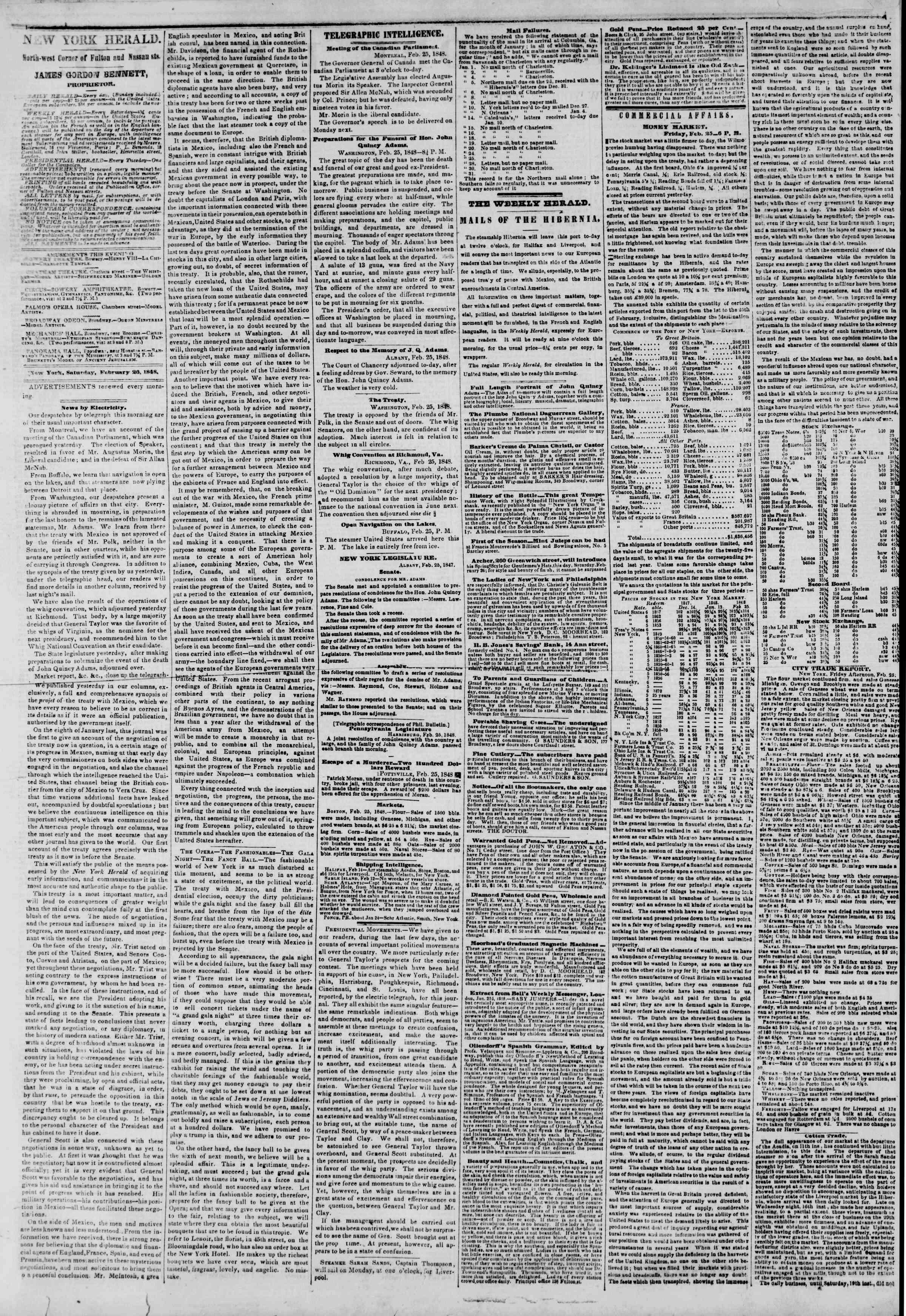 26 Şubat 1848 tarihli The New York Herald Gazetesi Sayfa 2