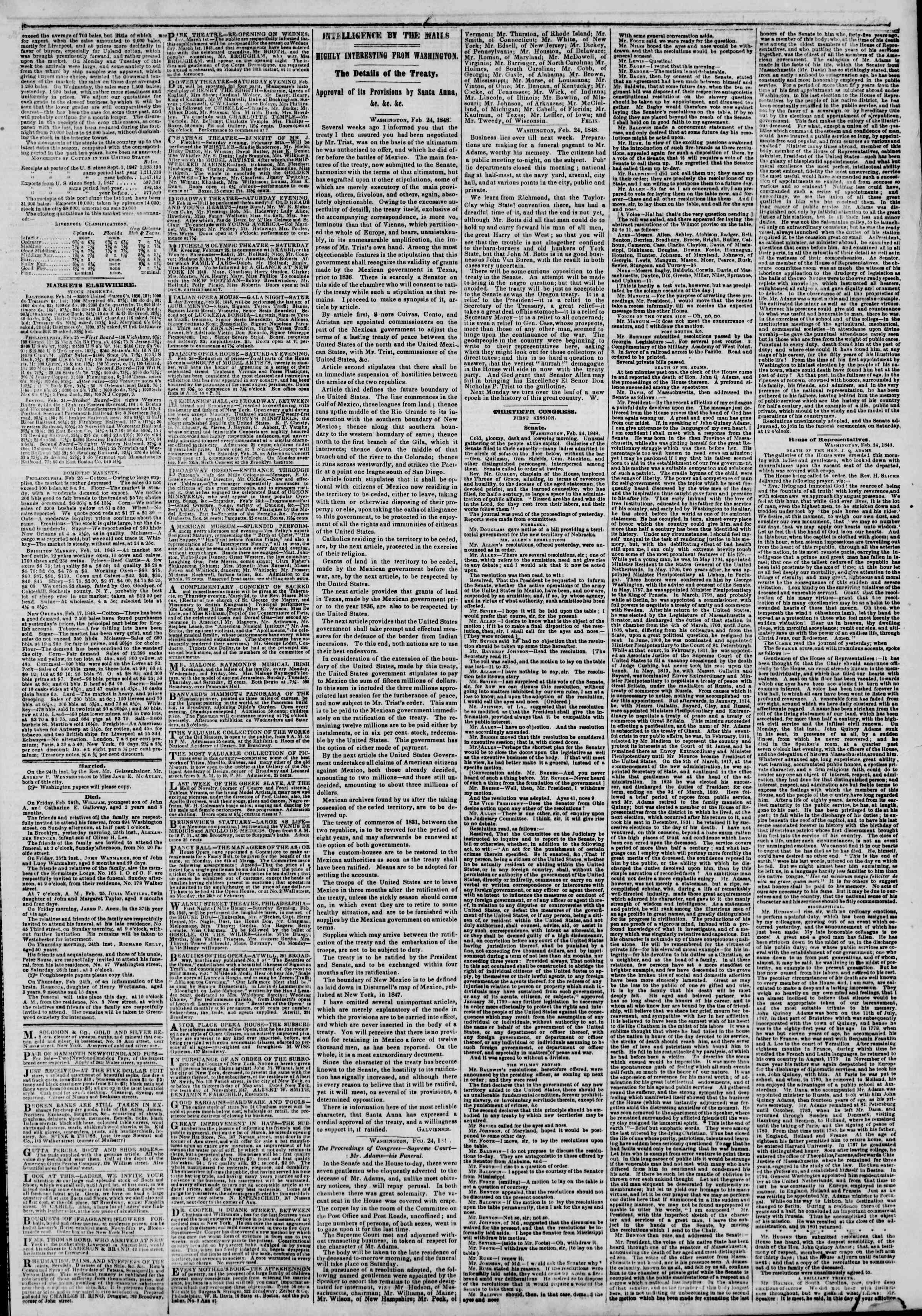 Newspaper of The New York Herald dated February 26, 1848 Page 3