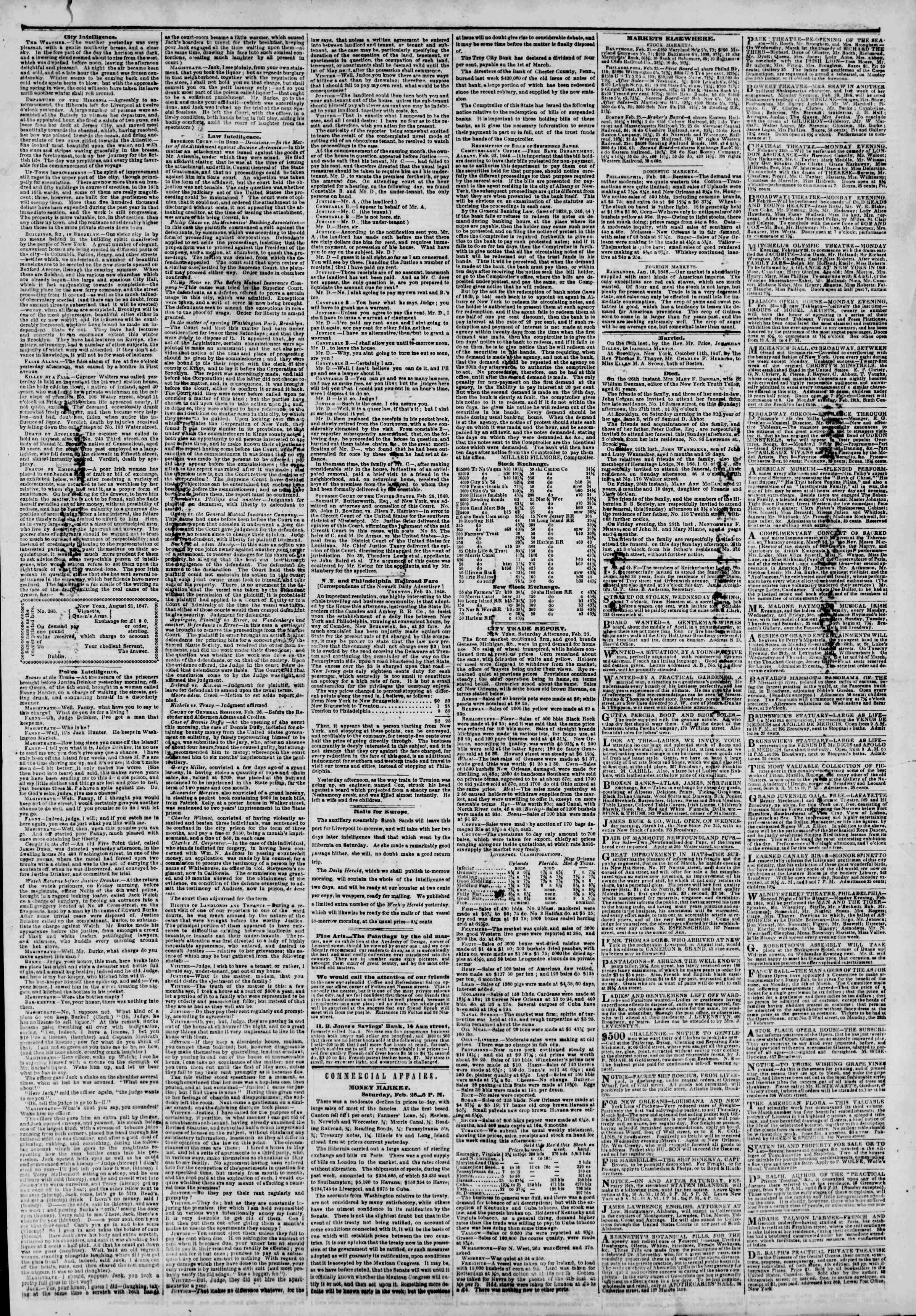 Newspaper of The New York Herald dated February 27, 1848 Page 3
