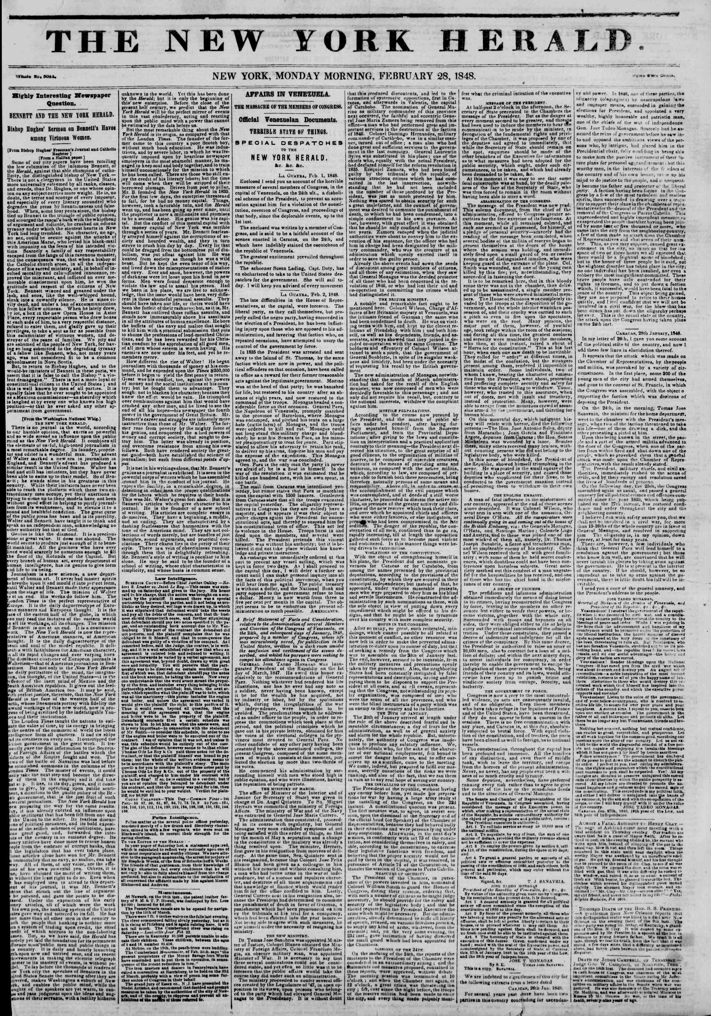 Newspaper of The New York Herald dated February 28, 1848 Page 1